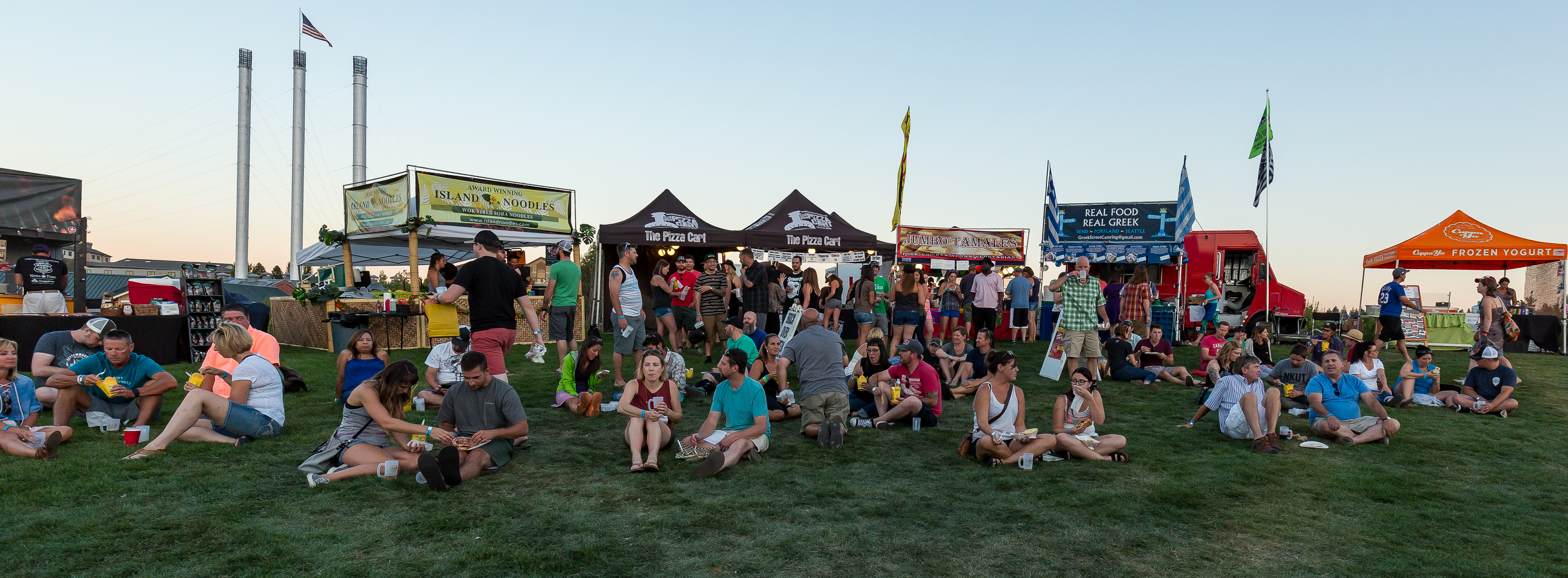 The hillside of food carts at the Bend Brewfest inside Les Schwab Amphitheater. (image courtesy of Bend Brewfest)