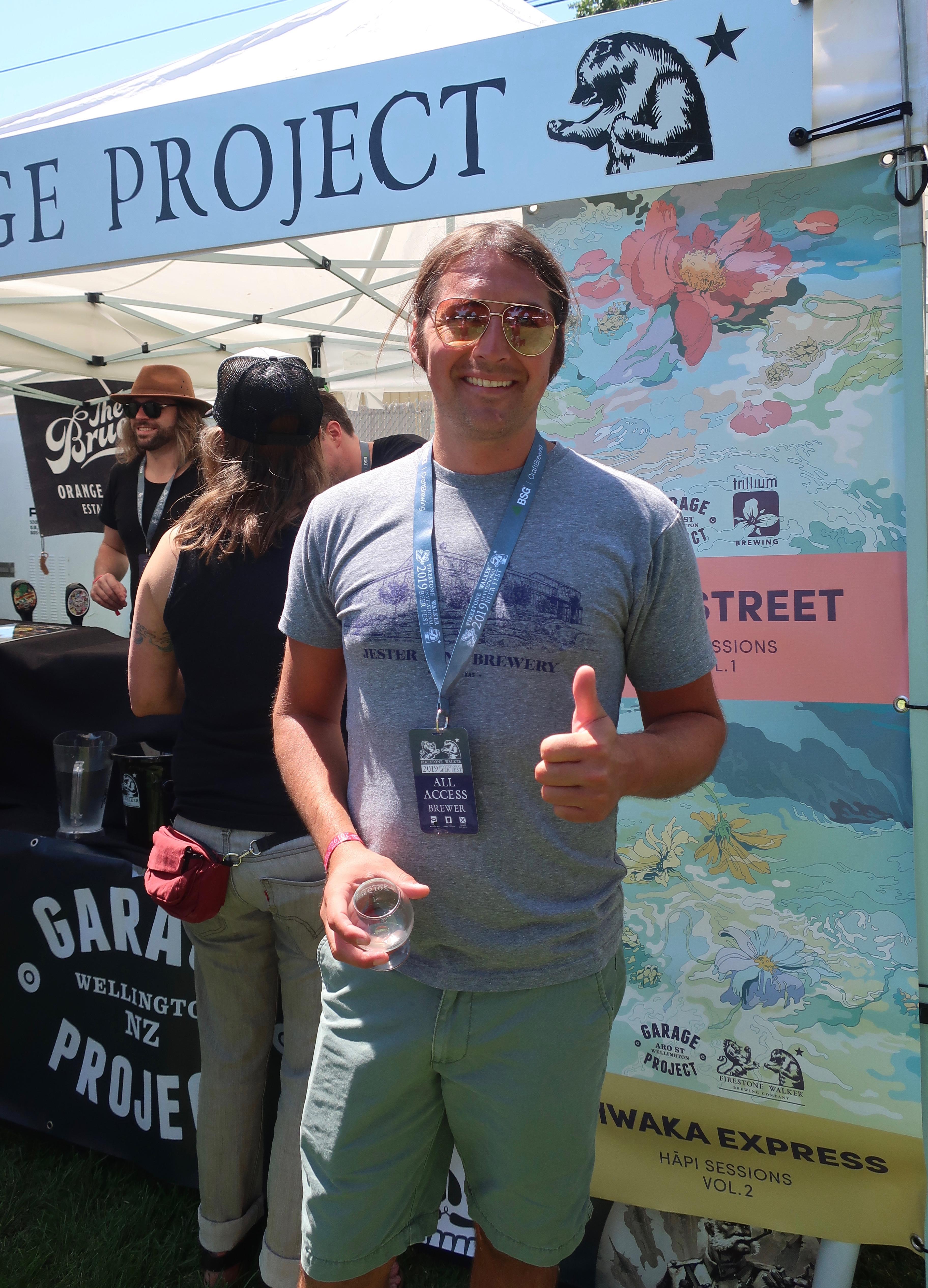 Travis Sandoval attends his first Firestone Walker Invitational Beer Fest volunteering for Jester King.