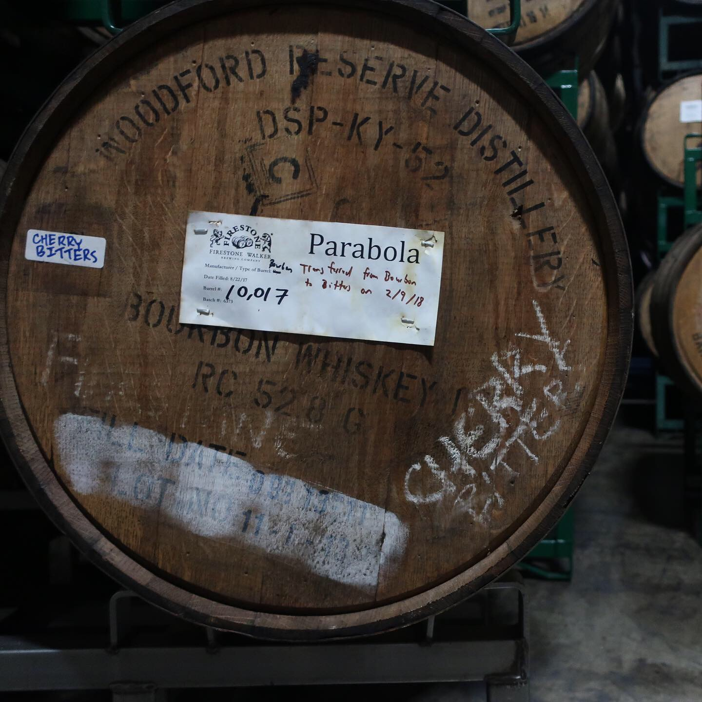 A former Woodford Reserve barrel that aged Parabola on cherry bitters at Firestone Walker Brewing. This went on to be used in Old Man Hattan