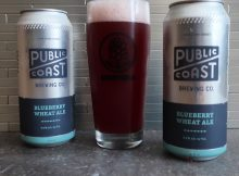 A glass pour of the new Public Coast Brewing Blueberry Wheat Ale.