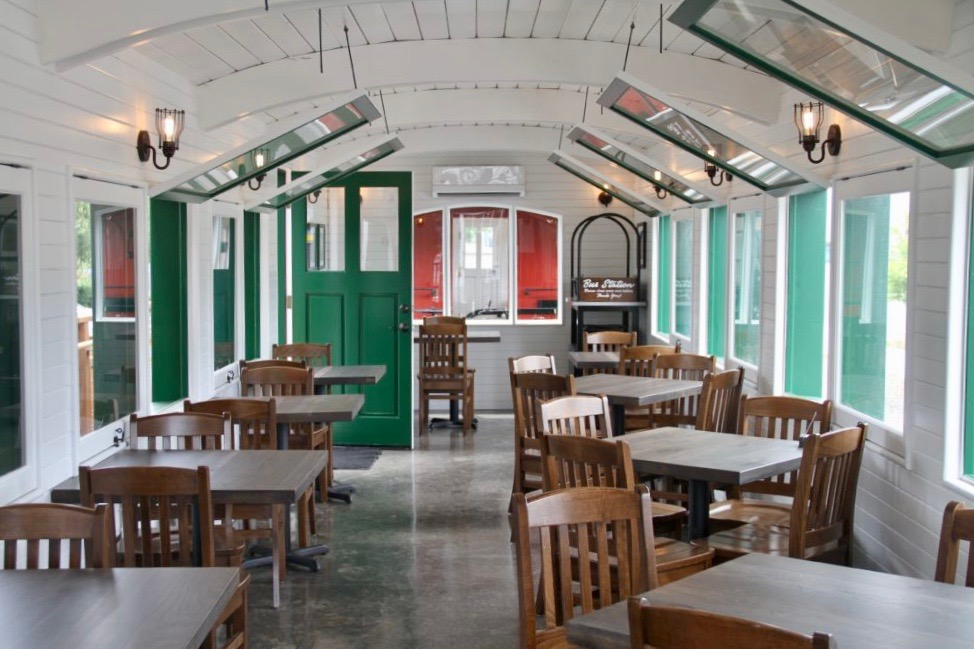Inside the train car at Mt. Hood Brewing Tilikum Station. (image courtesy of Mt. Hood Brewing)