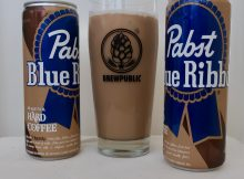 The new test marketed Pabst Blue Ribbon Hard Coffee poured into a BREWPUBLIC glass.
