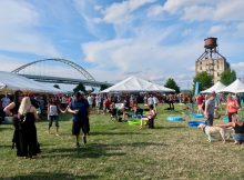 Views of the Fremont Bridge and the old mill are on display at the Portland Craft Beer Festival.
