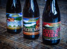 image of 2017 Devil's Kriek, 2017 Tahoma Kriek and 2017 Pêche Mode Sour Ale courtesy of Double Mountain Brewery