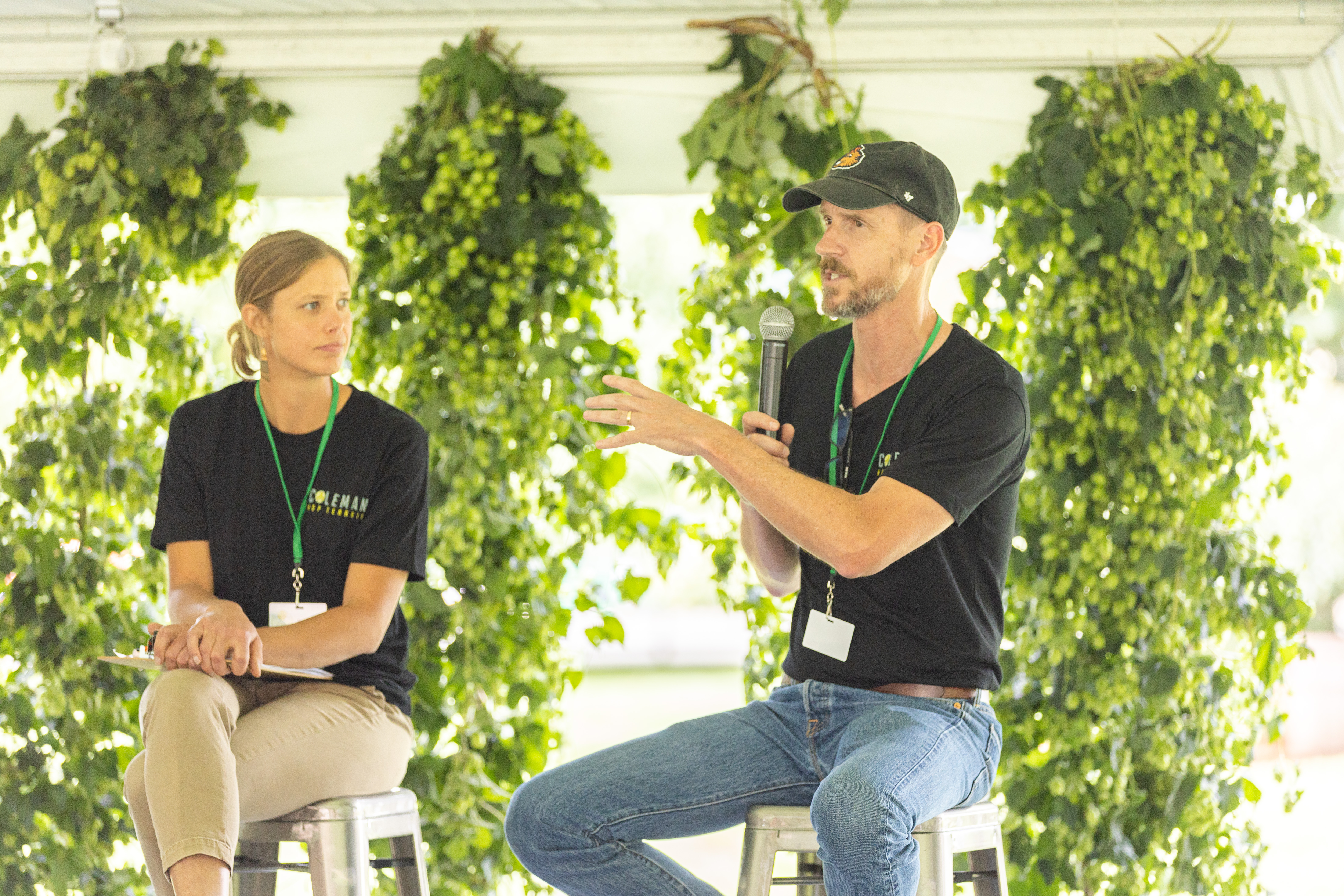 Coleman Agriculture Hop Terroir Panelists Dr. Betsy Verhoeven and Dr. Tom Shellhammer, both from Oregon State University. (image courtesy of Coleman Agriculture)