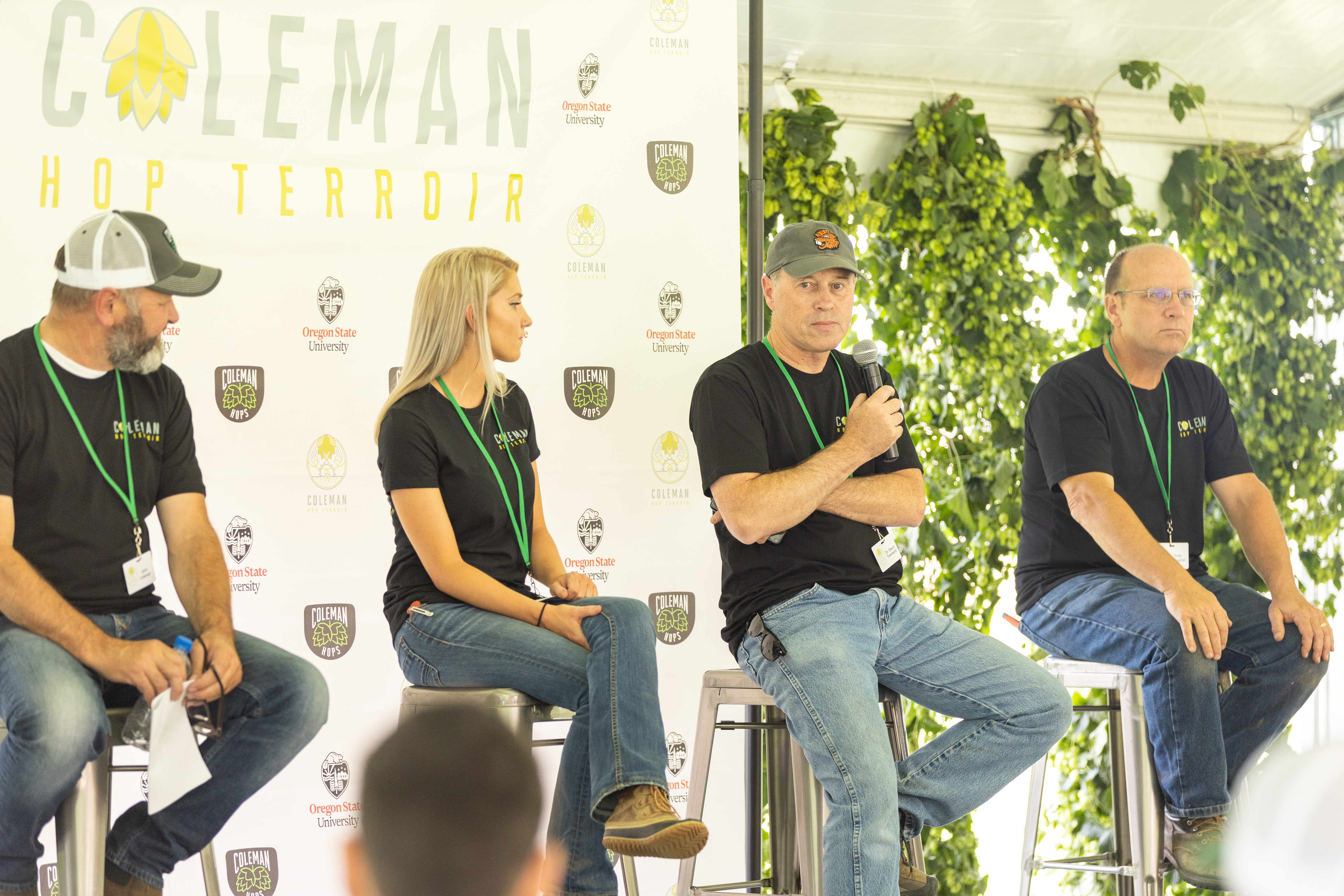 Coleman Agriculture Hop Terroir Panelists - John Coleman, Haley Nelson, Dr. Shaun Townsend and Andy Gallagher. (image courtesy of Coleman Agriculture)
