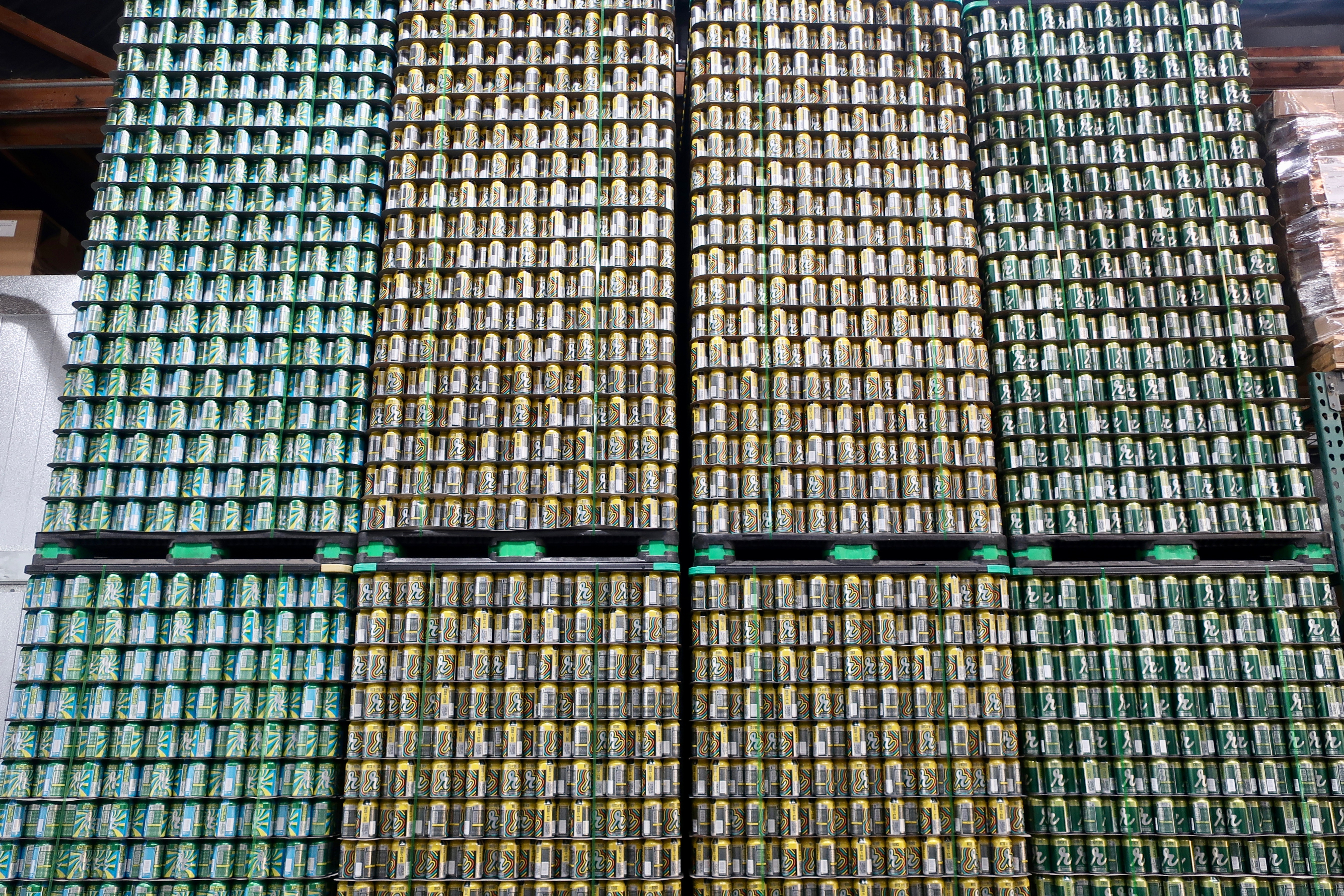Lots and lots of empty cans fill any vacant space inside the Brewtap, Reuben's Brews new production brewery.