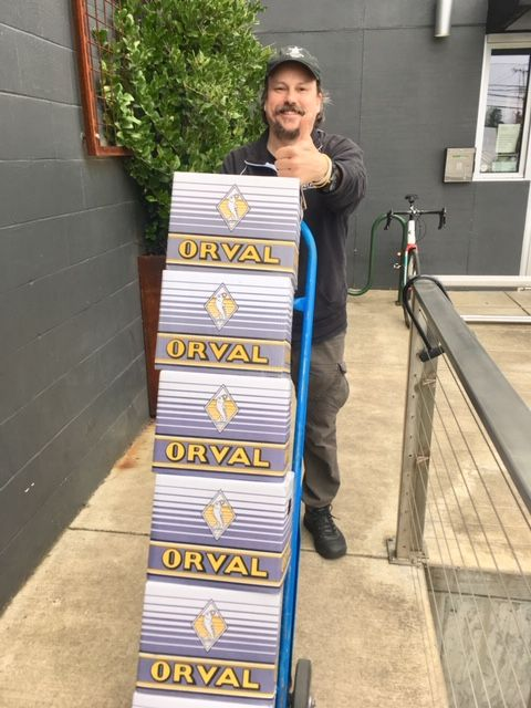Sean Campbell hauling in cases of his favorite beer, Orval. (FoystonFoto)