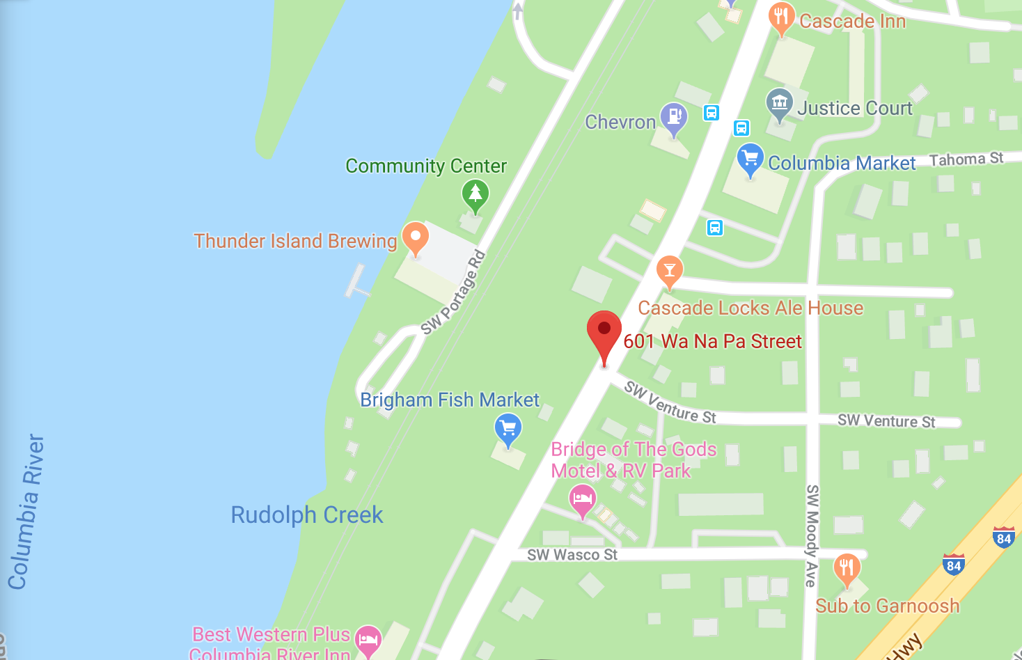 The location of the forthcoming Thunder Island Brewing located at 601 WaNaPa Street in Cascade Locks, Oregon. (image courtesy of Google)