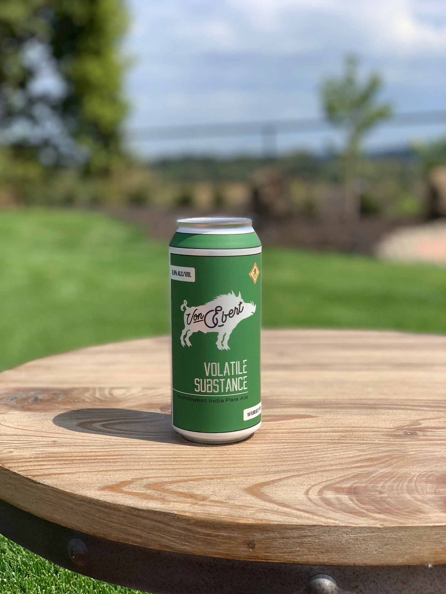 image of Volatile Substance IPA in new 16oz cans courtesy of Von Ebert Brewing