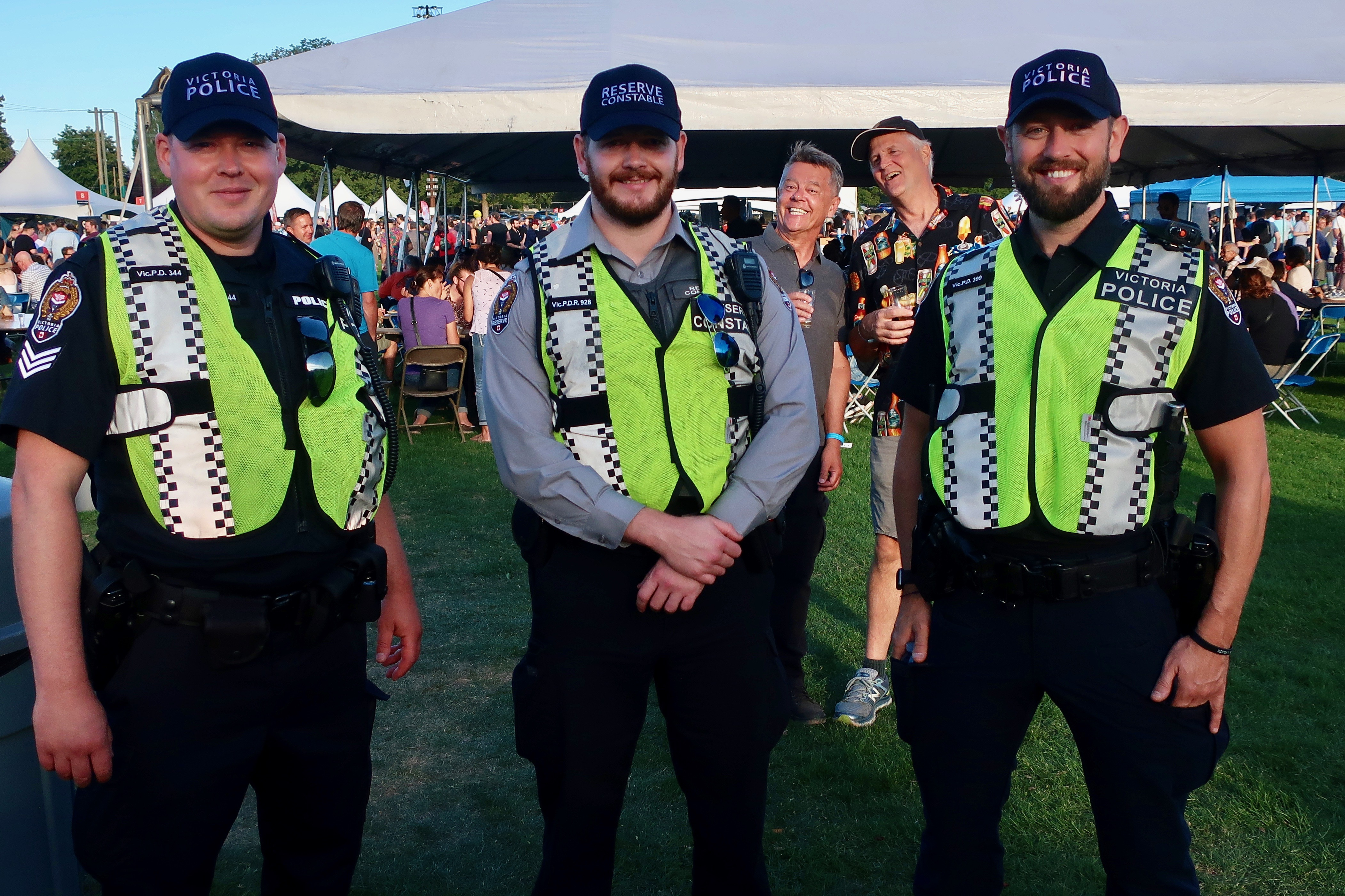 A few of Victoria's finest with a photo bomb at the 2019 Great Canadian Beer Festival.