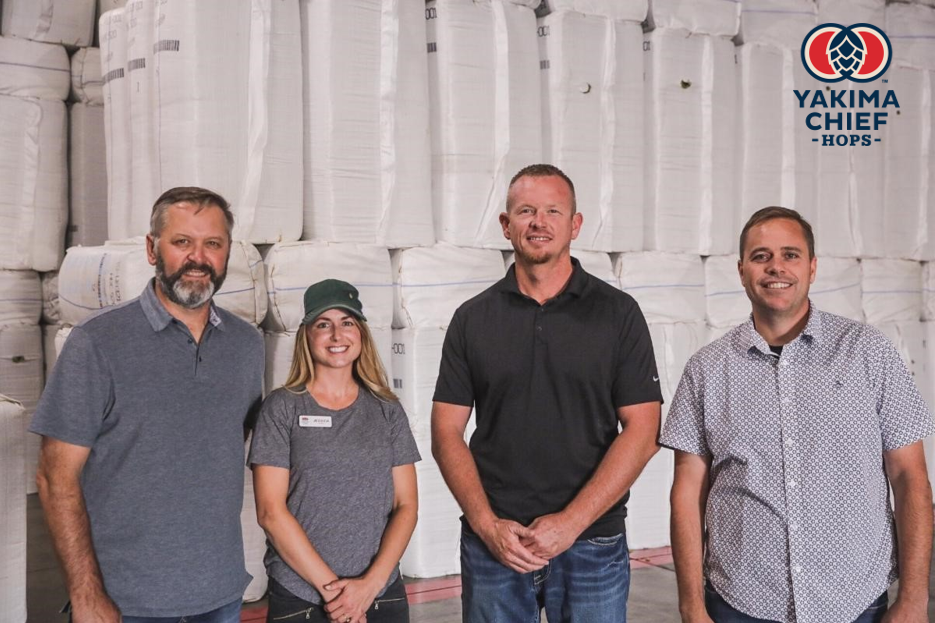 (From left to right) John Coleman of Coleman Ag; Jessica Riel of Double 'R' Hop Ranches; Ben St. Mary of Black Star Ranches; Brenton Roy of Oasis Farms. (image courtesy of Yakima Chief Hops)