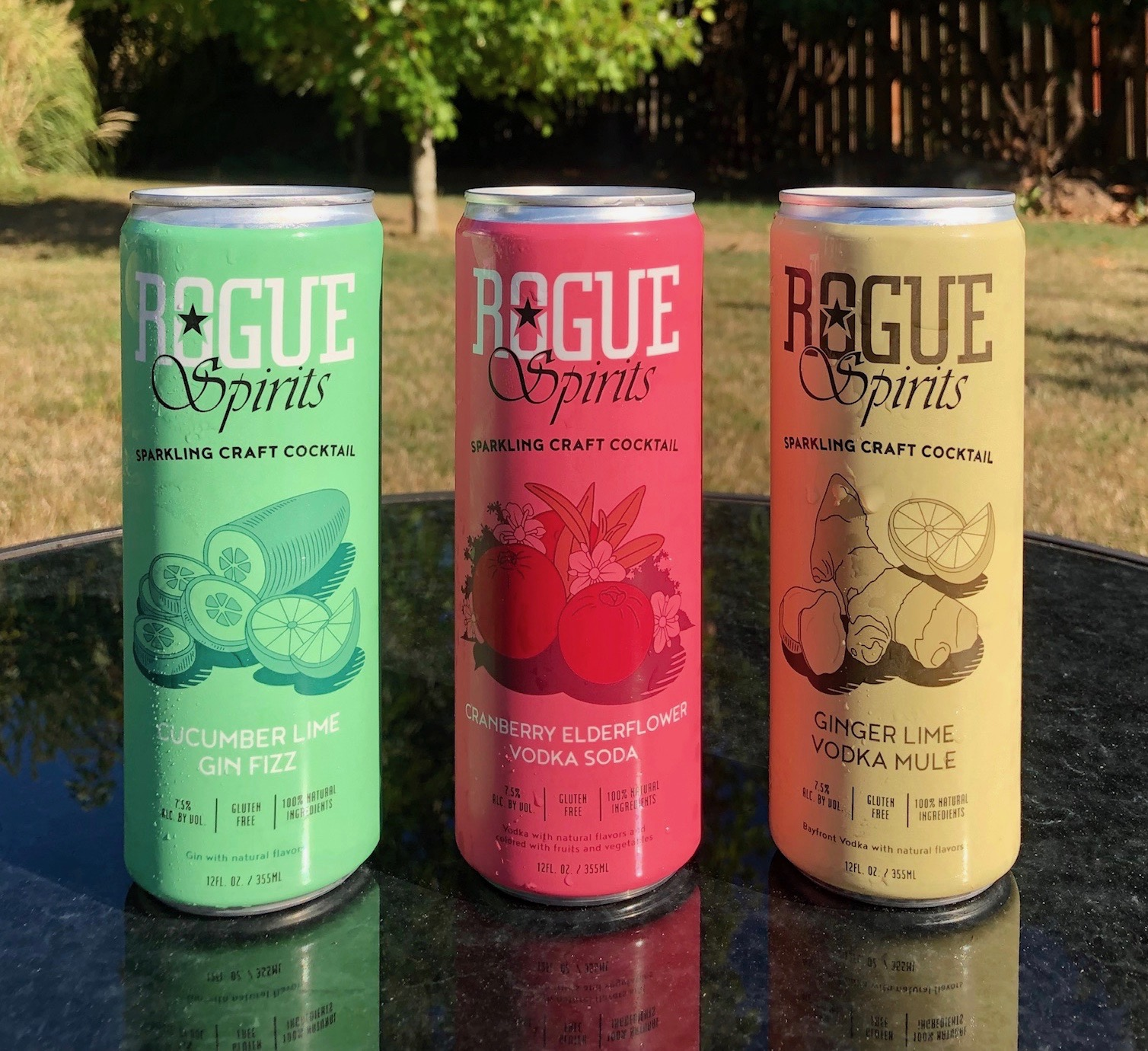 New Rogue Canned Cocktails of Cucumber Lime Gin Fizz, Cranberry Elderflower Vodka Soda, and Ginger Lime Vodka Mule. (photo by Cat Stelzer)