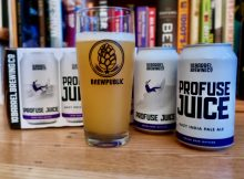 Profuse Juice Hazy IPA from 10 Barrel Brewing served in a BREWPUBLIC glass.