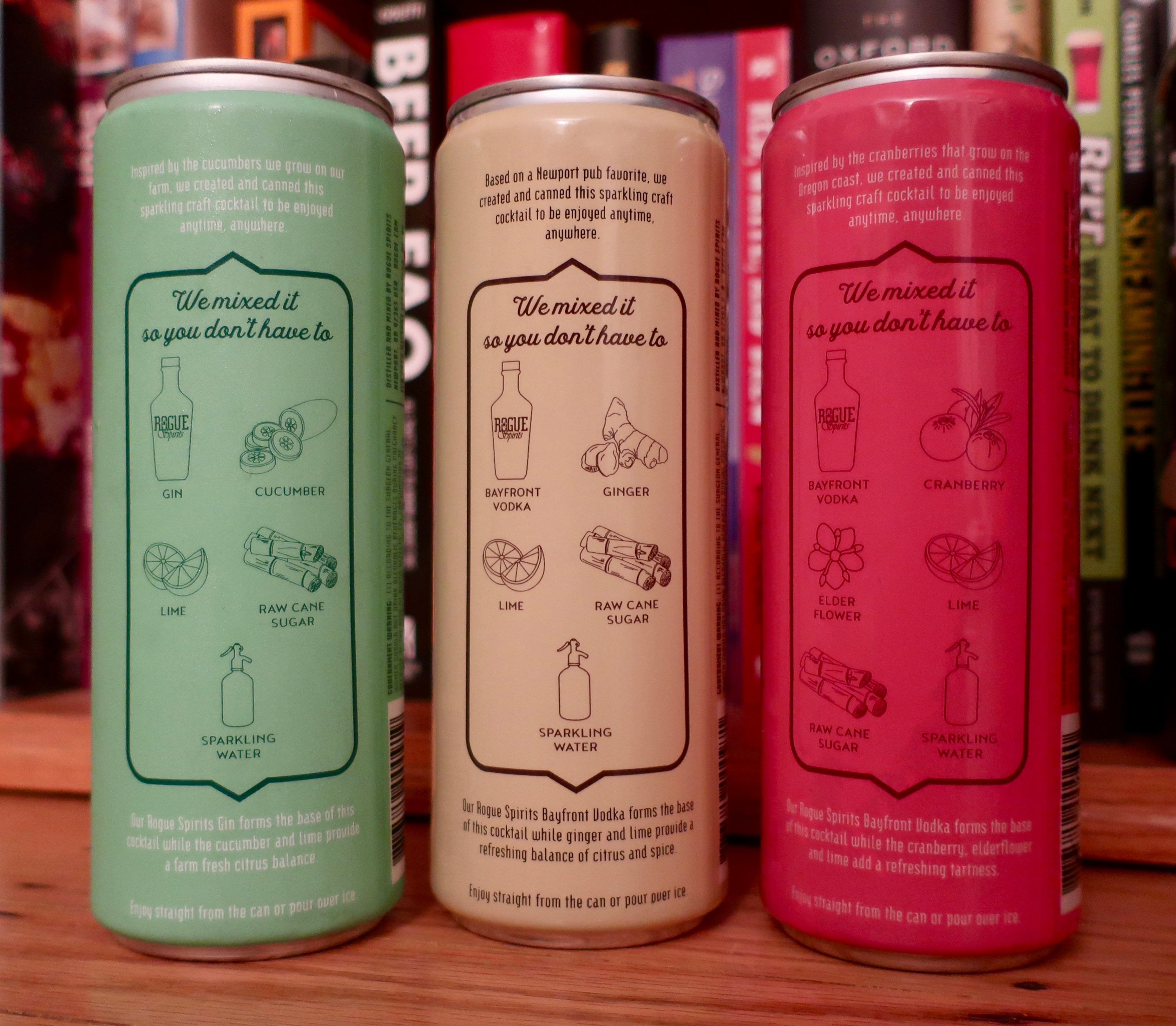 The back label on the new Rogue Canned Cocktails of Cucumber Lime Gin Fizz, Ginger Lime Vodka Mule, and Cranberry Elderflower Vodka Soda.