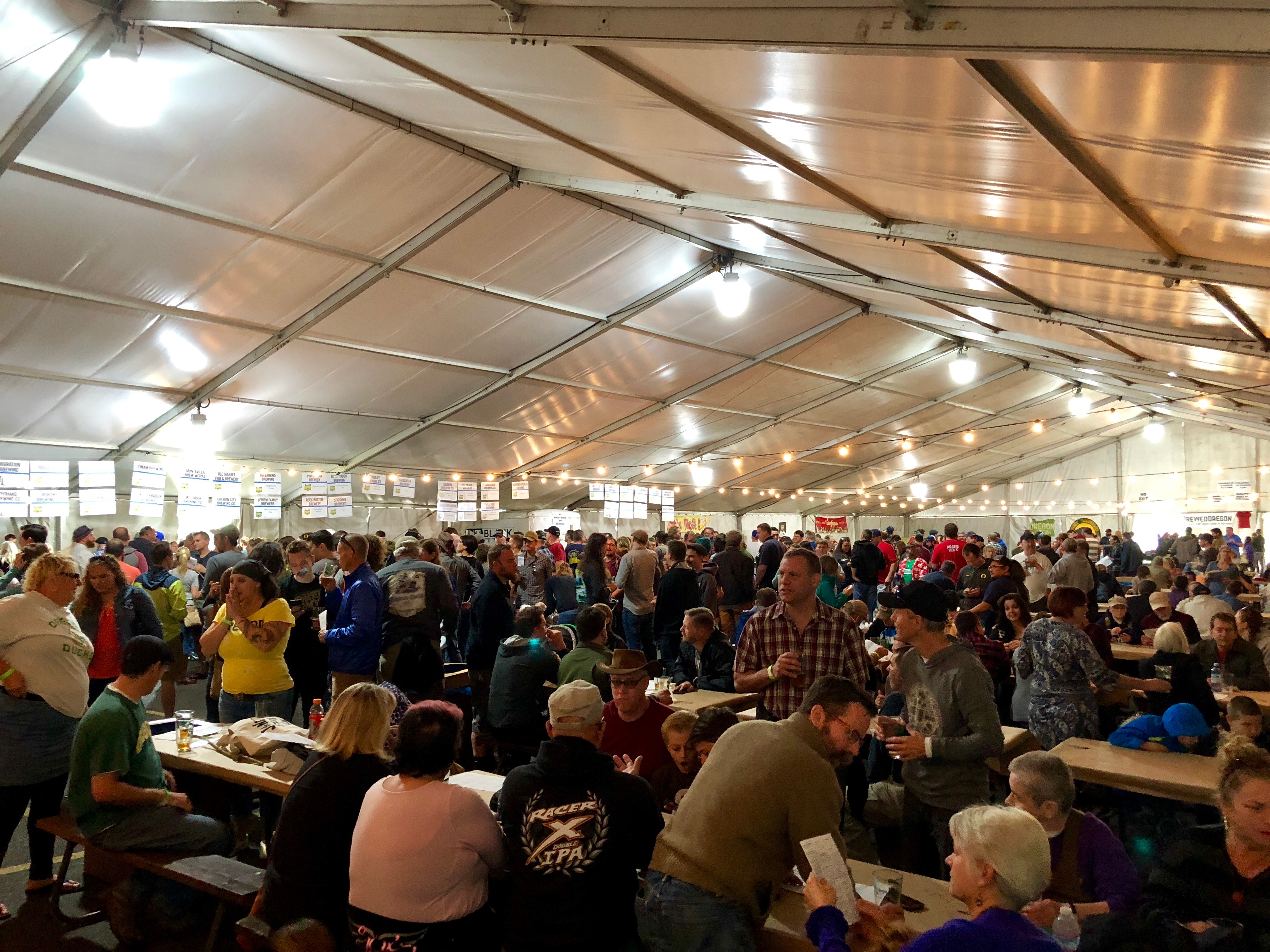 The festive crowd under the big tent at the Portland Fresh Hop Festival.