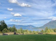The view of the Columbia River Gorge at Skamania Lodge.