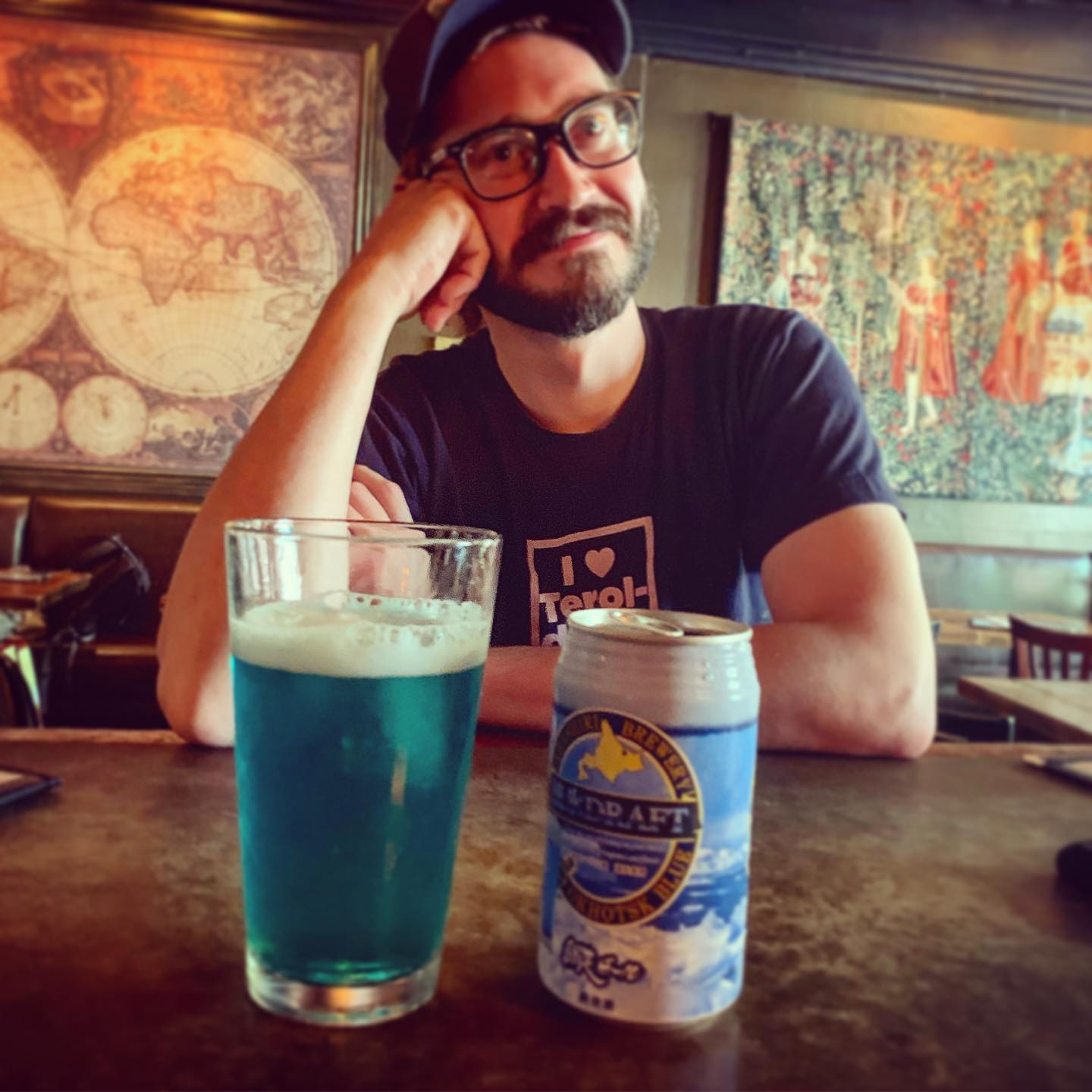 image of the vividly blue Japanese Abashiri Okhotsk Blue Ale courtesy of There Be Monsters
