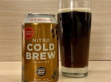 A pour of New Belgium and High Brew Coffee Nitro Cold Brew Cream Ale.