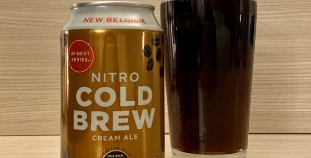 A pour of New Belgium and High Brew Coffee Nitro Cold Brew Cream Ale.