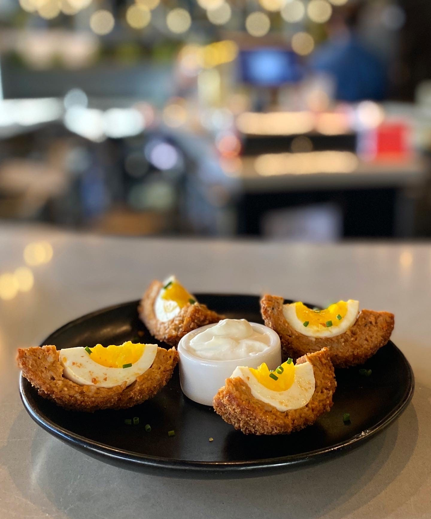 Chorizo Scotch Egg at Avid Cider Co. & Kitchen. (photo by Cat Stelzer)