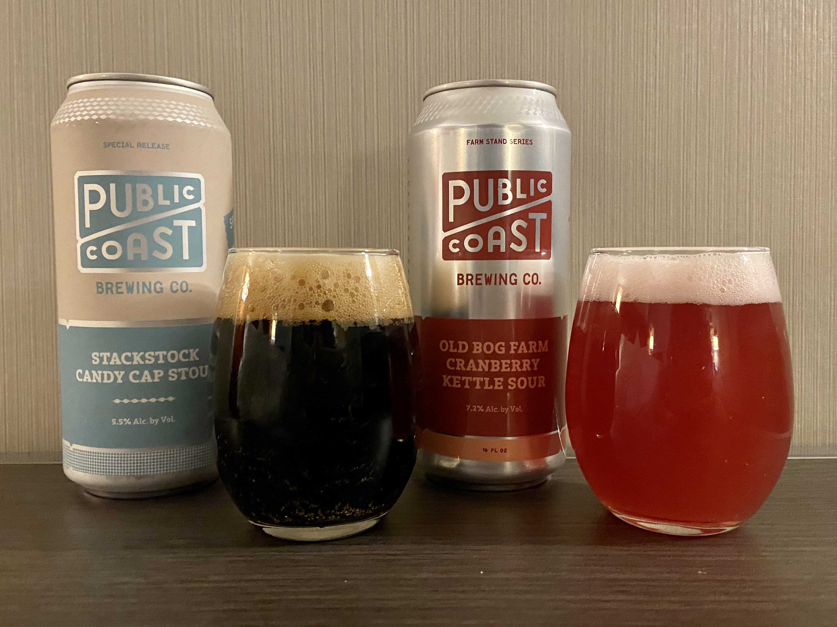 Public Coast Brewing StackStock Candy Cap Stout and Old Bog Farm Cranberry Kettle Sour.
