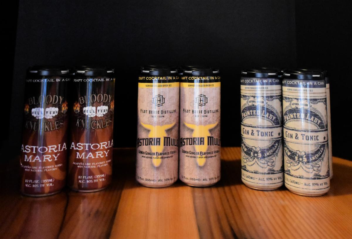 image of canned, ready to drink cocktails courtesy of Pilot House Distilling