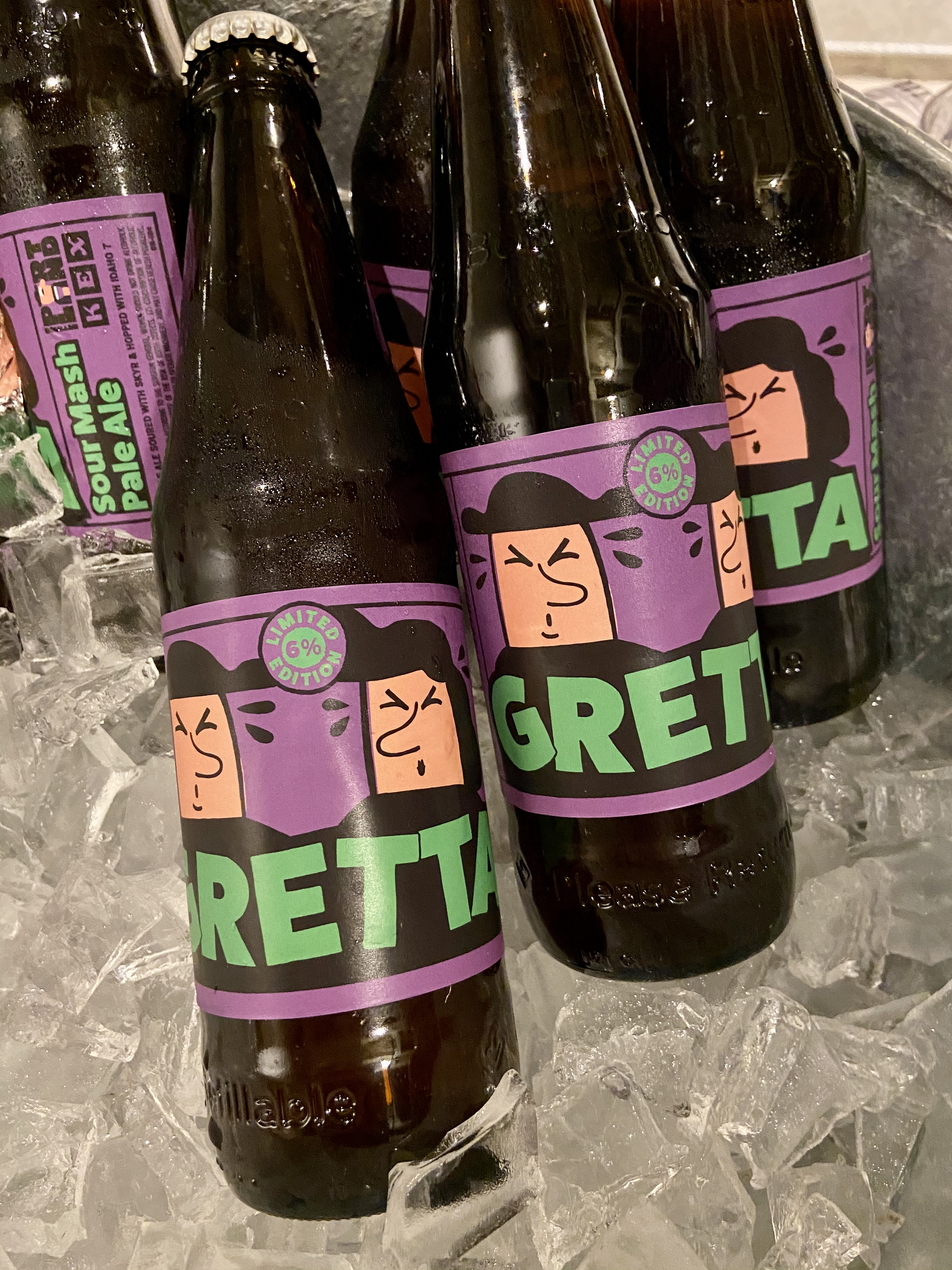 Bottles of Gretta, a collaboration beer between KEX Brewing and Mikkeller.