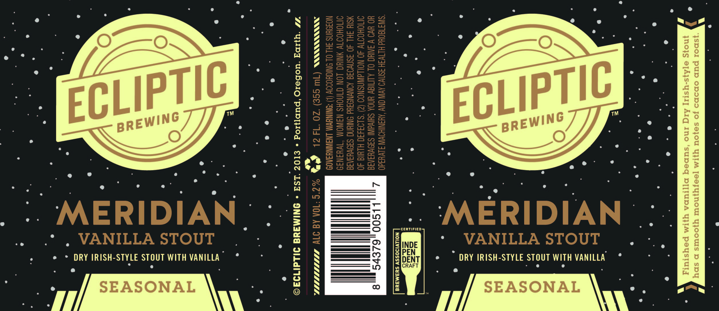 Ecliptic Brewing Meridian Vanilla Stout Label