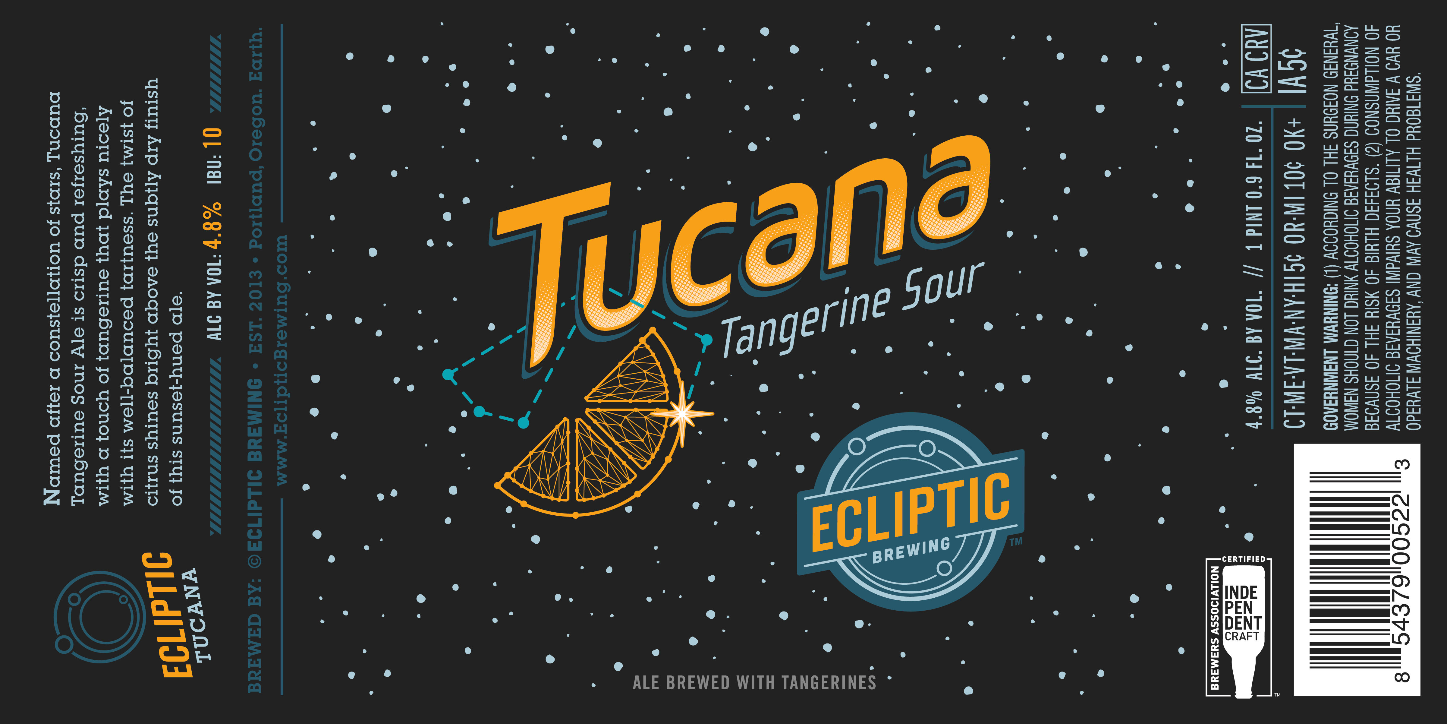 Ecliptic Brewing Tucana Tangerine Sour Ale Label