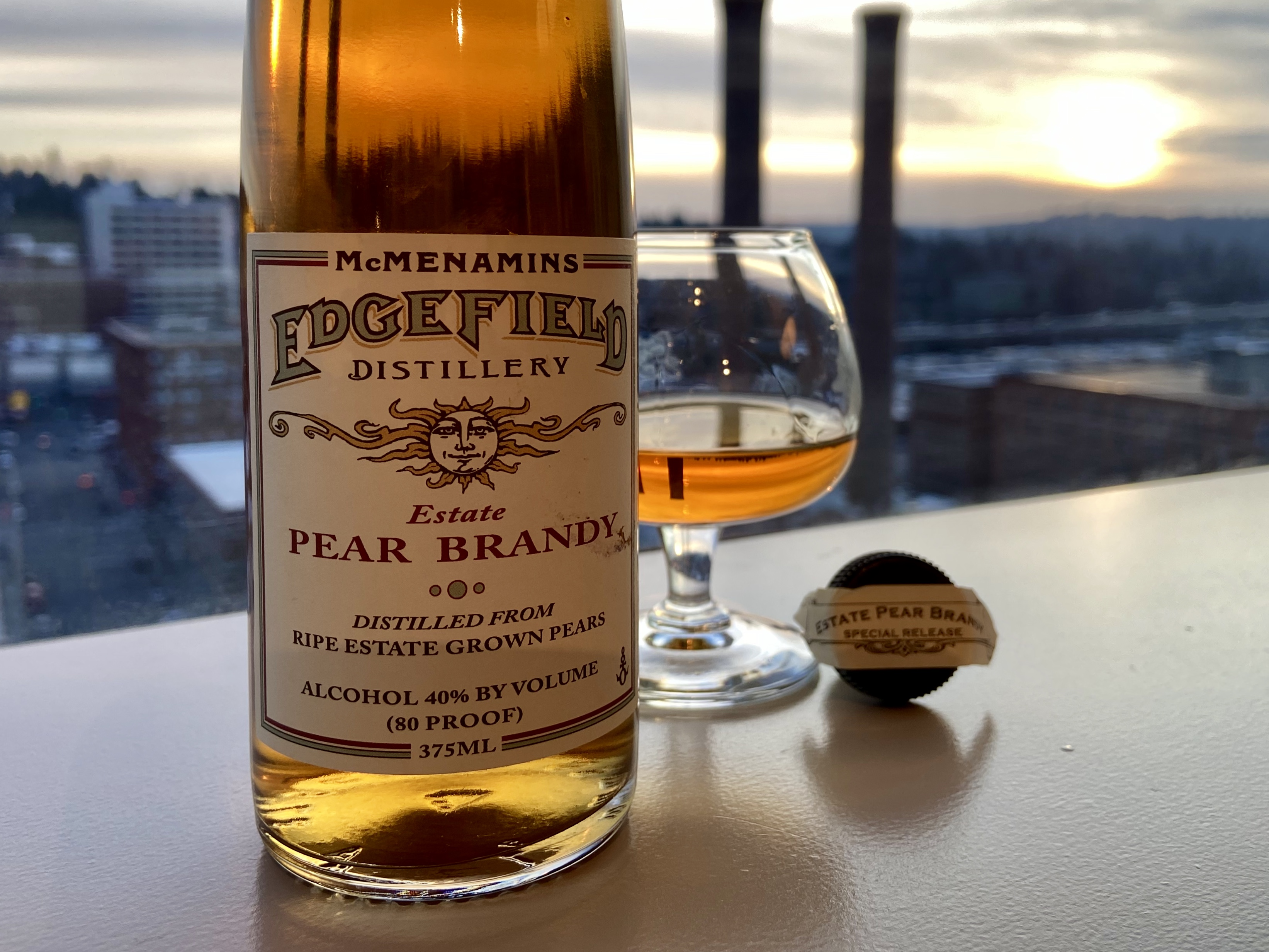 McMenamins Edgefield Distillery Estate Pear Brandy is an 80 proof spirit made with pears grown at Edgefield.