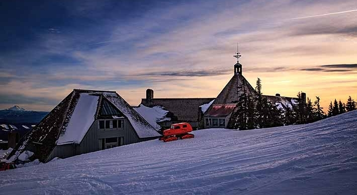 image of the Tucker Snowcat parked on the backside of the Timberline Lodge courtesy of Timberline Lodge
