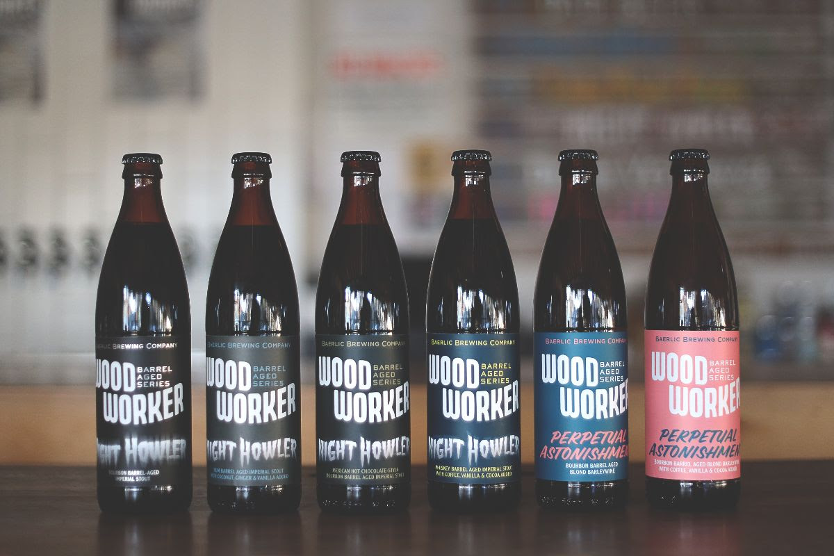 image of 2019 WoodWorker bottles courtesy of Baerlic Brewing