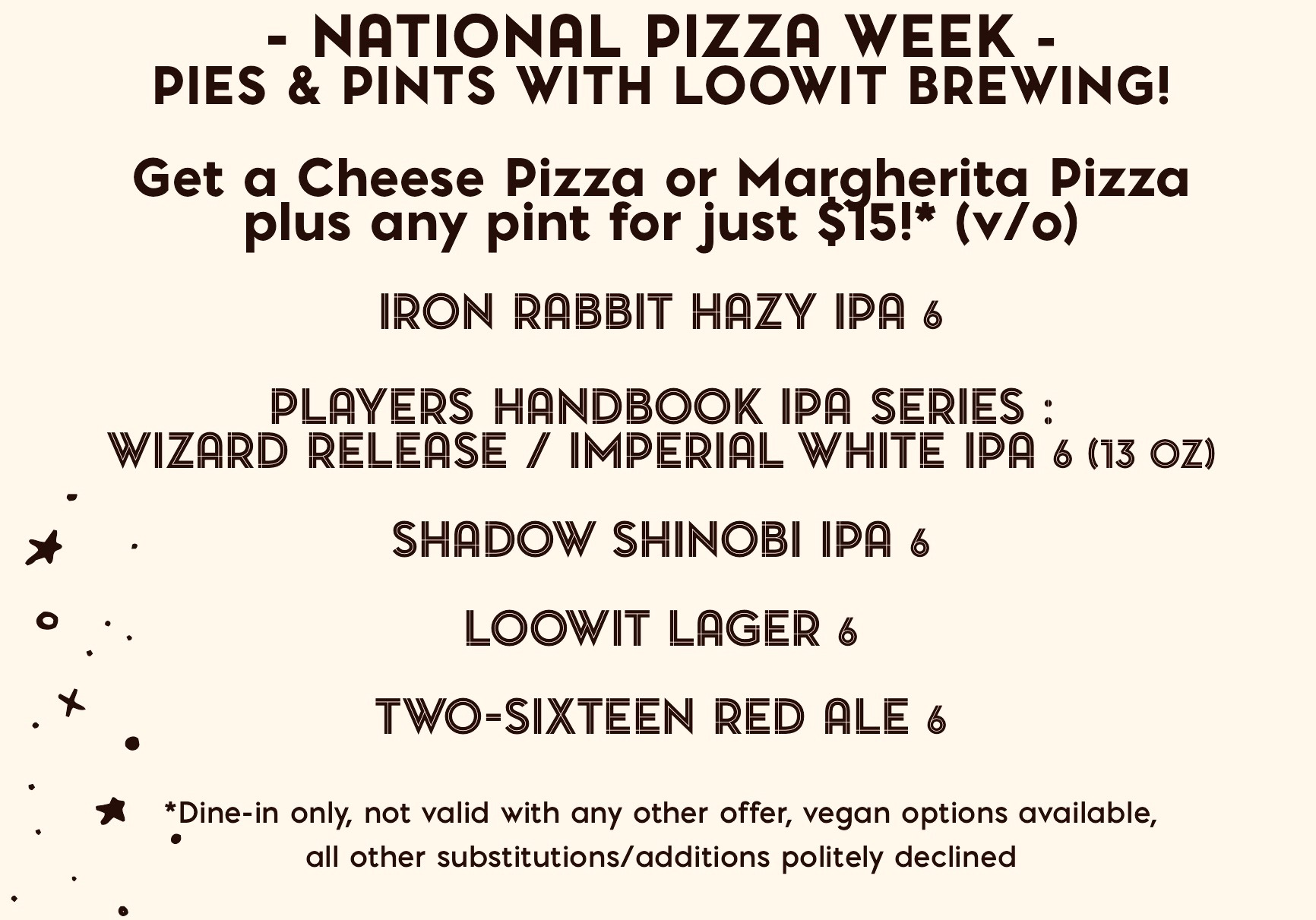 2020 National Pizza Week at Rally Pizza with Loowit Brewing