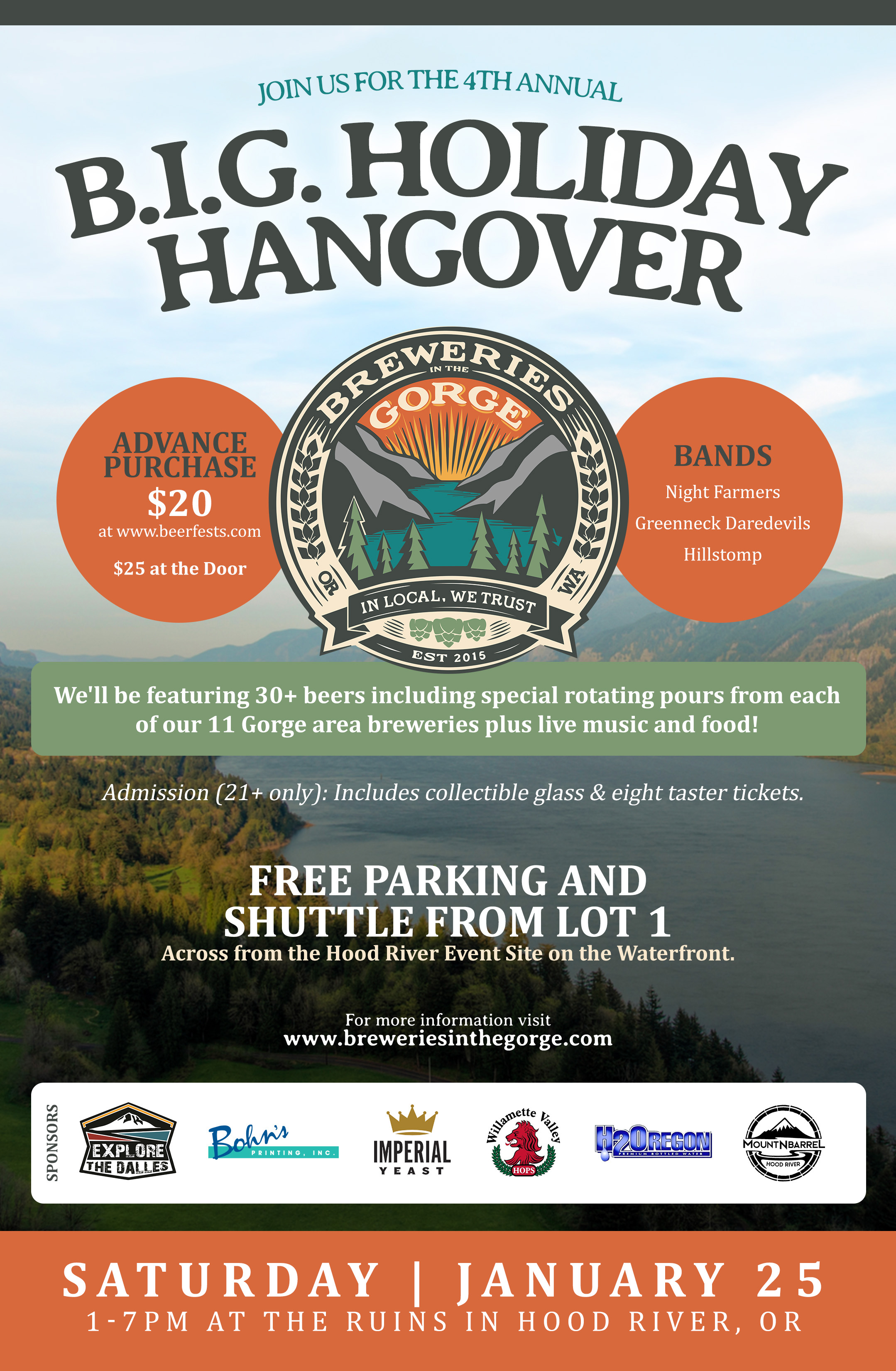 Breweries in the Gorge B.I.G. Holiday Hangover 2020 Poster