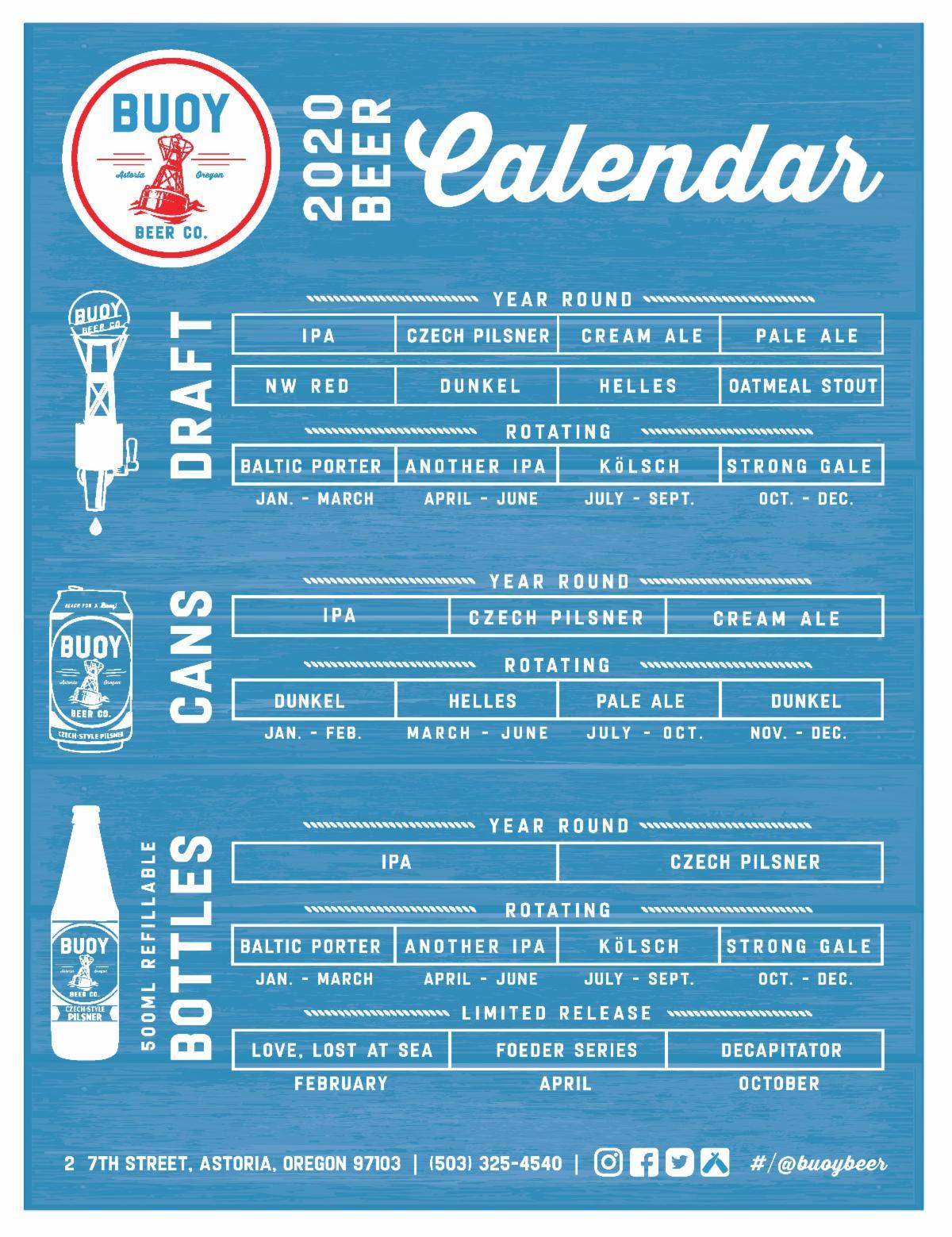 Buoy Beer 2020 Beer Release Calendar