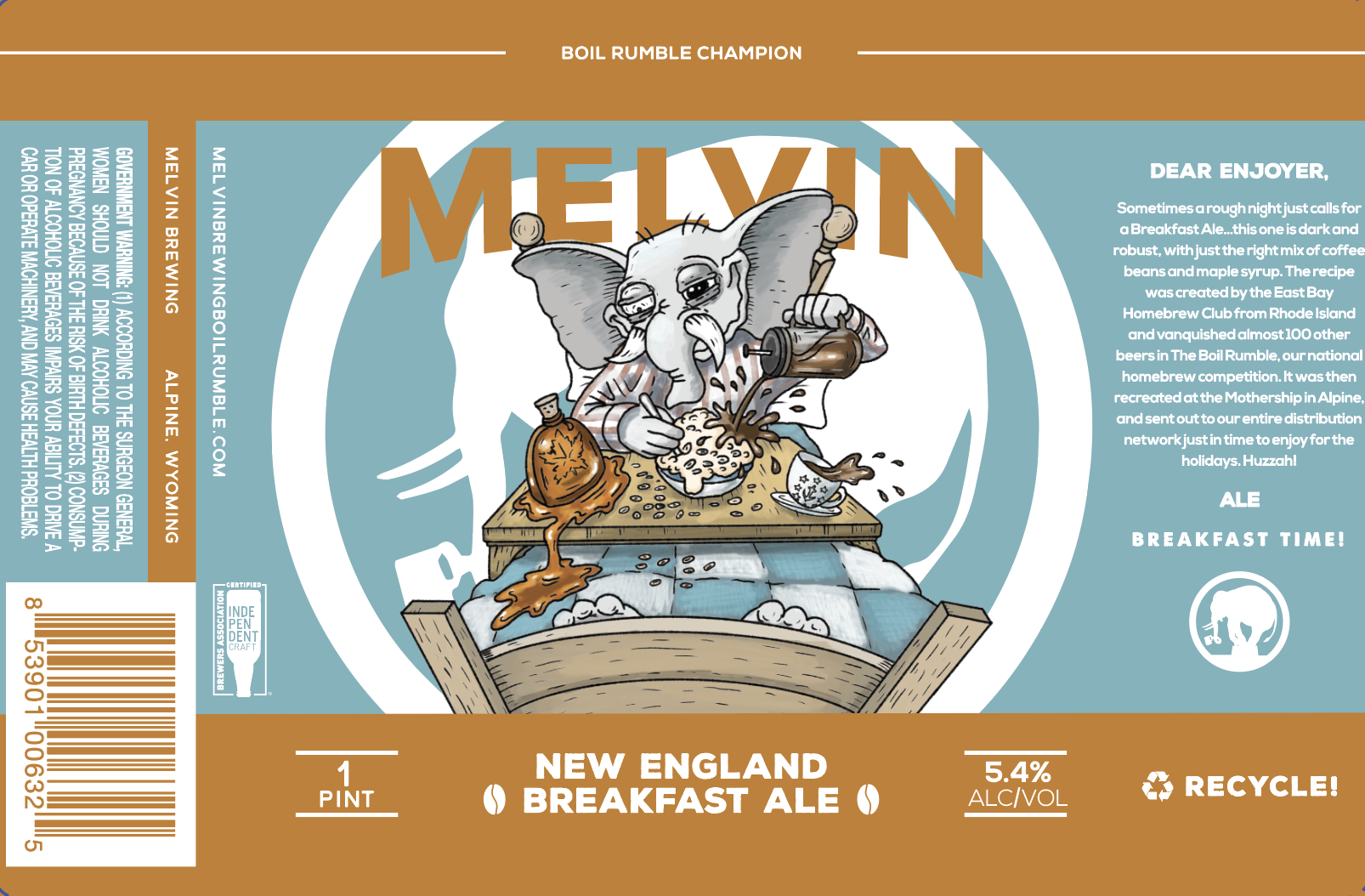 Melvin Brewing New England Breakfast Ale Label
