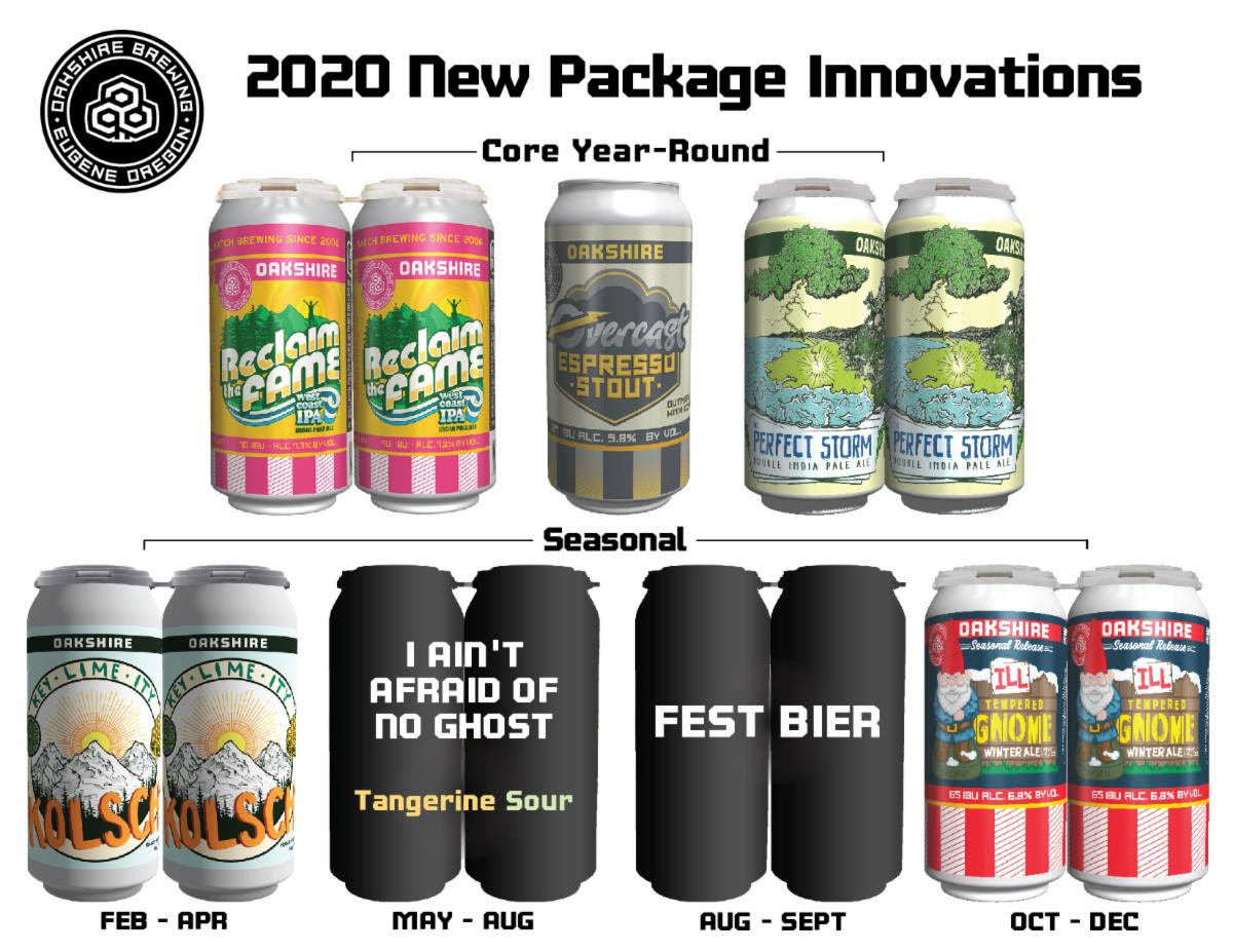 Oakshire Brewing 2020 Beer Releases - Core Year-Round and Seasonal