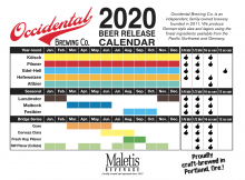 Occidental Brewing 2020 Beer Release Calendar