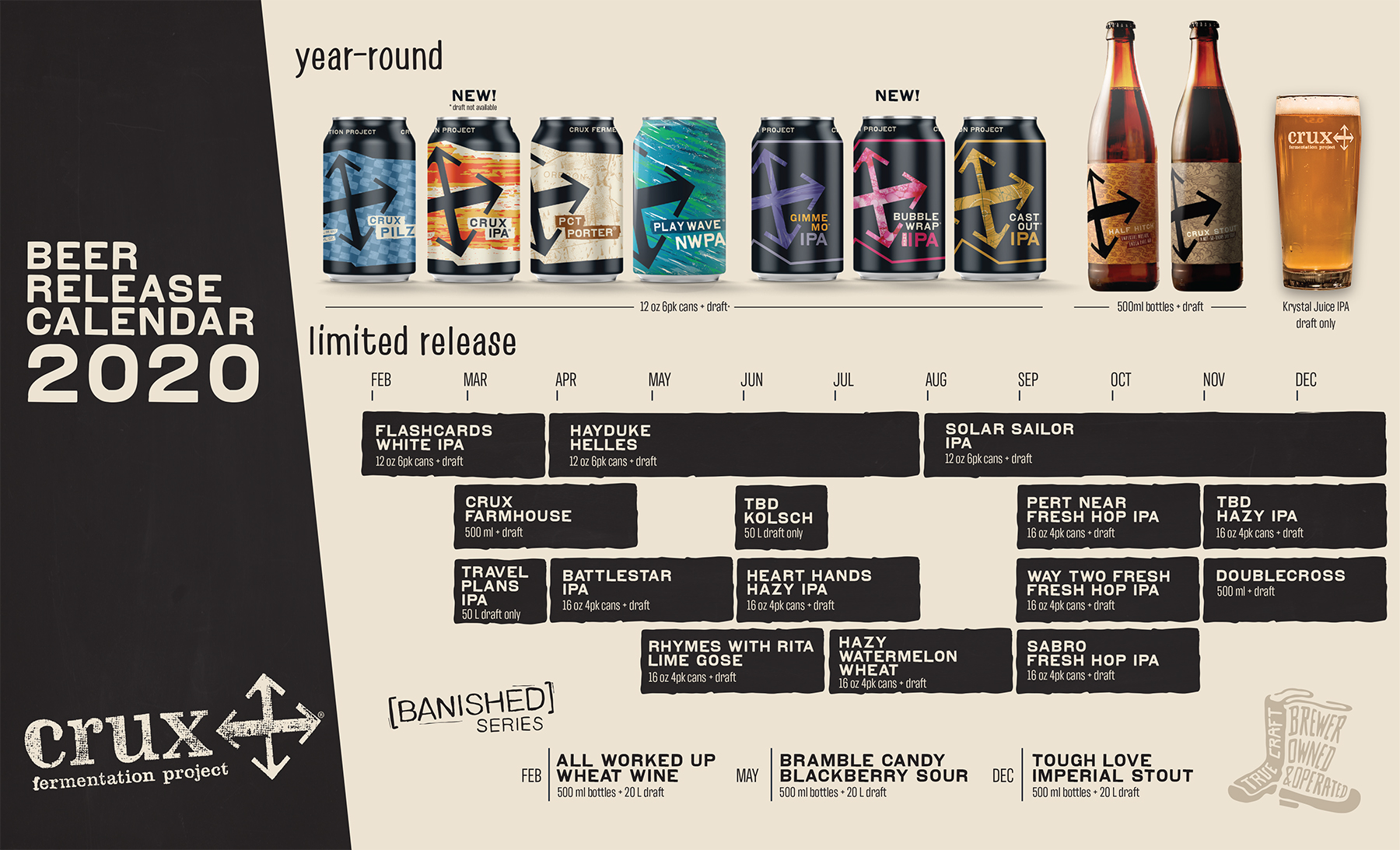 Crux Fermentation Project 2020 Beer Release Calendar