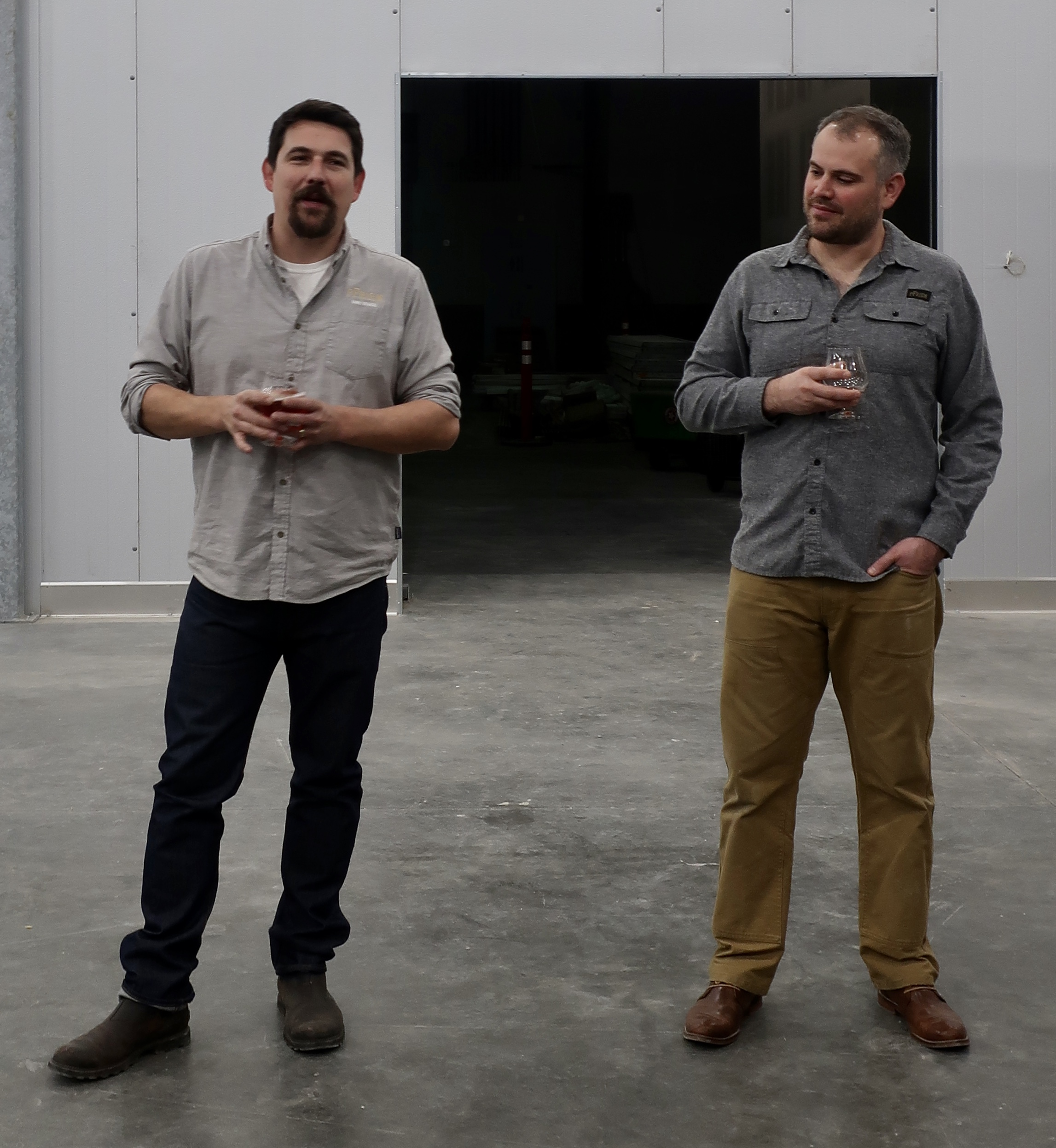 Gavin Lord and Bryan Cardwell discussing plans while taking a peek at the forthcoming pFriem Family Brewers location in Cascade Locks, Oregon.