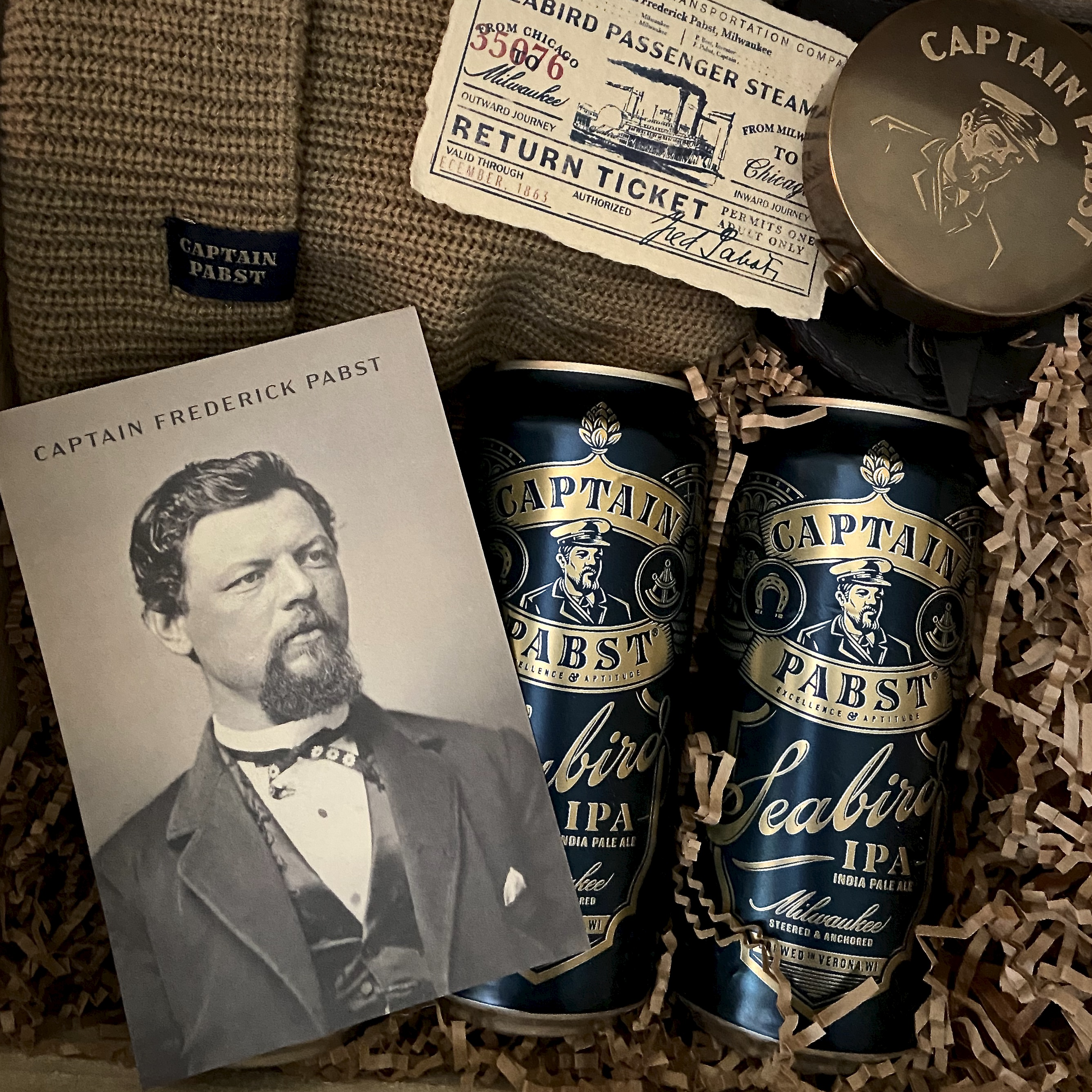 Pabst Brewing's Captain Frederick Pabst Seabird IPA pays homage to its founder, Captain Frederick Pabst. The brewer went all out in the media kit that was sent out.
