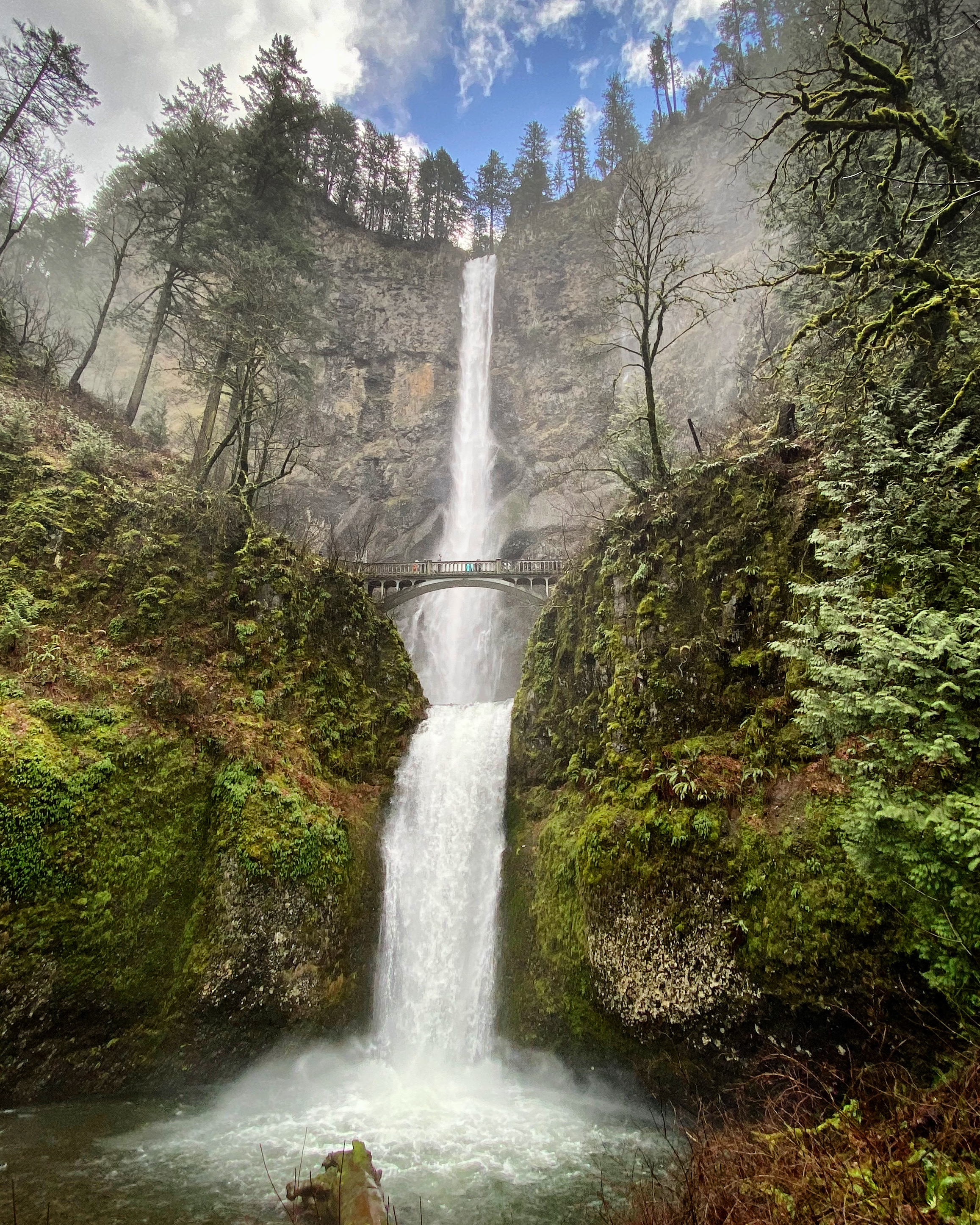 The 620 foot high Multnomah Falls on a cool February morning with low level clouds passing through. The falls are the most-visited natural recreation site in the Pacific Northwest.