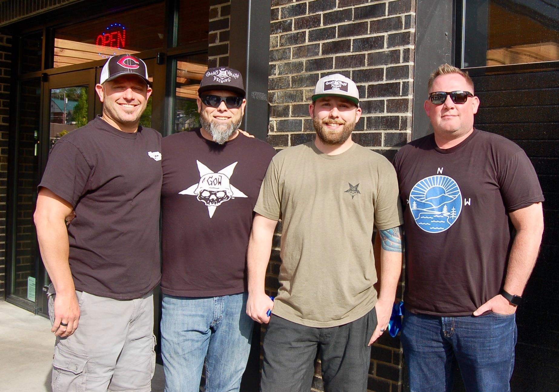 image of Brendan Ford, Mike Hunsaker, Brendan Greenen, and Shawn Parker courtesy of Grains of Wrath Brewing