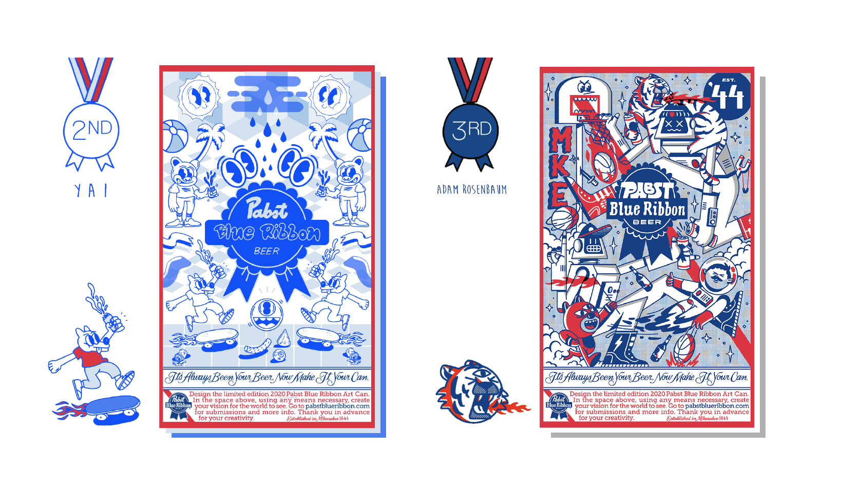 2020 Pabst Blue Ribbon Art Can Contest 2nd Place from Yahira Vila and 3rd Place from Adam Rosenbaum