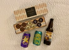 Moonstruck Chocolate West Coast Brewery Collection with Breakside Brewery's True Gold Golden Ale, Pike Brewing's Monk's Uncle Tripel Ale and Sierra Nevada's Hazy Little Thing IPA.