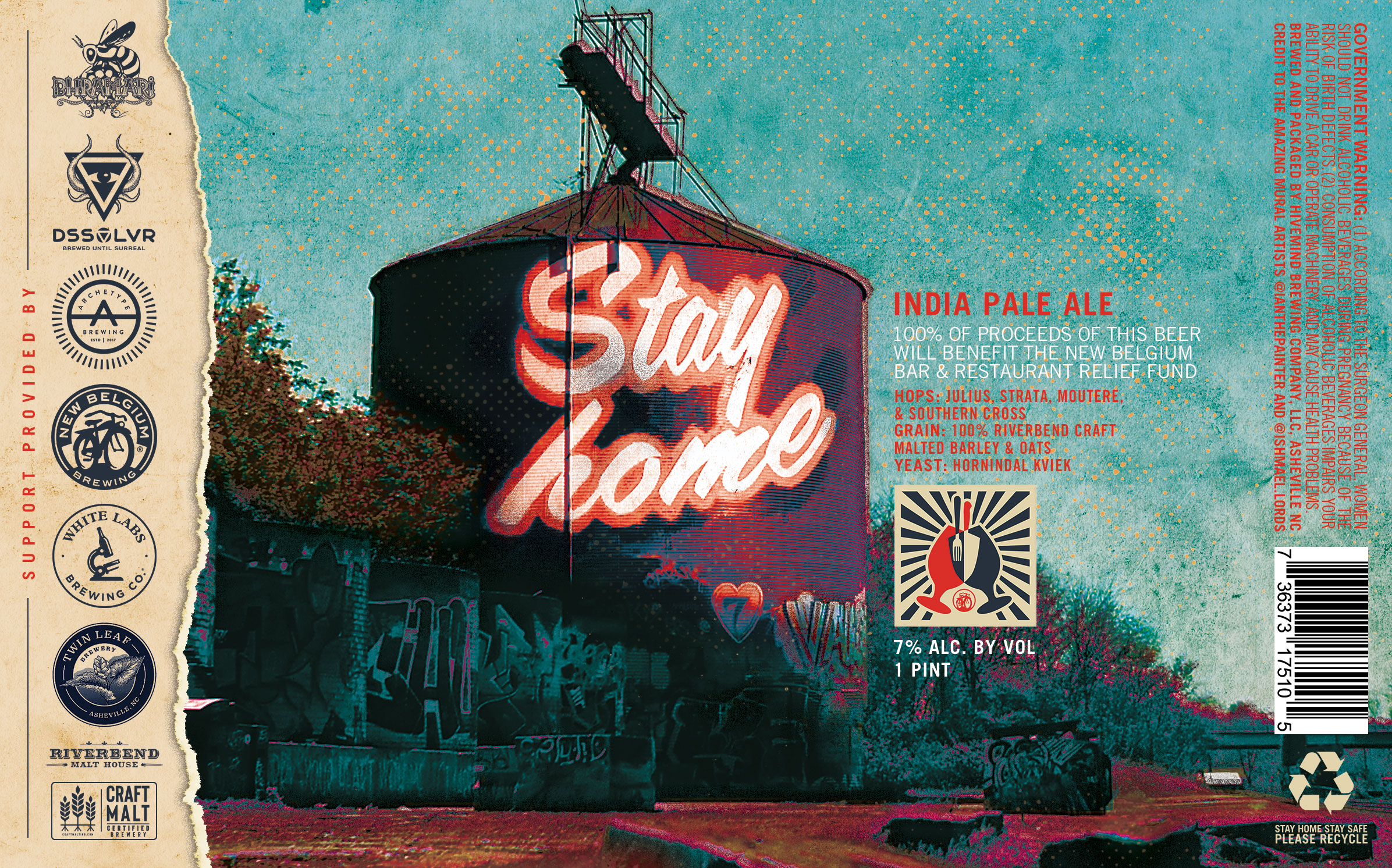 New Belgium Brewing Stay Home IPA Label