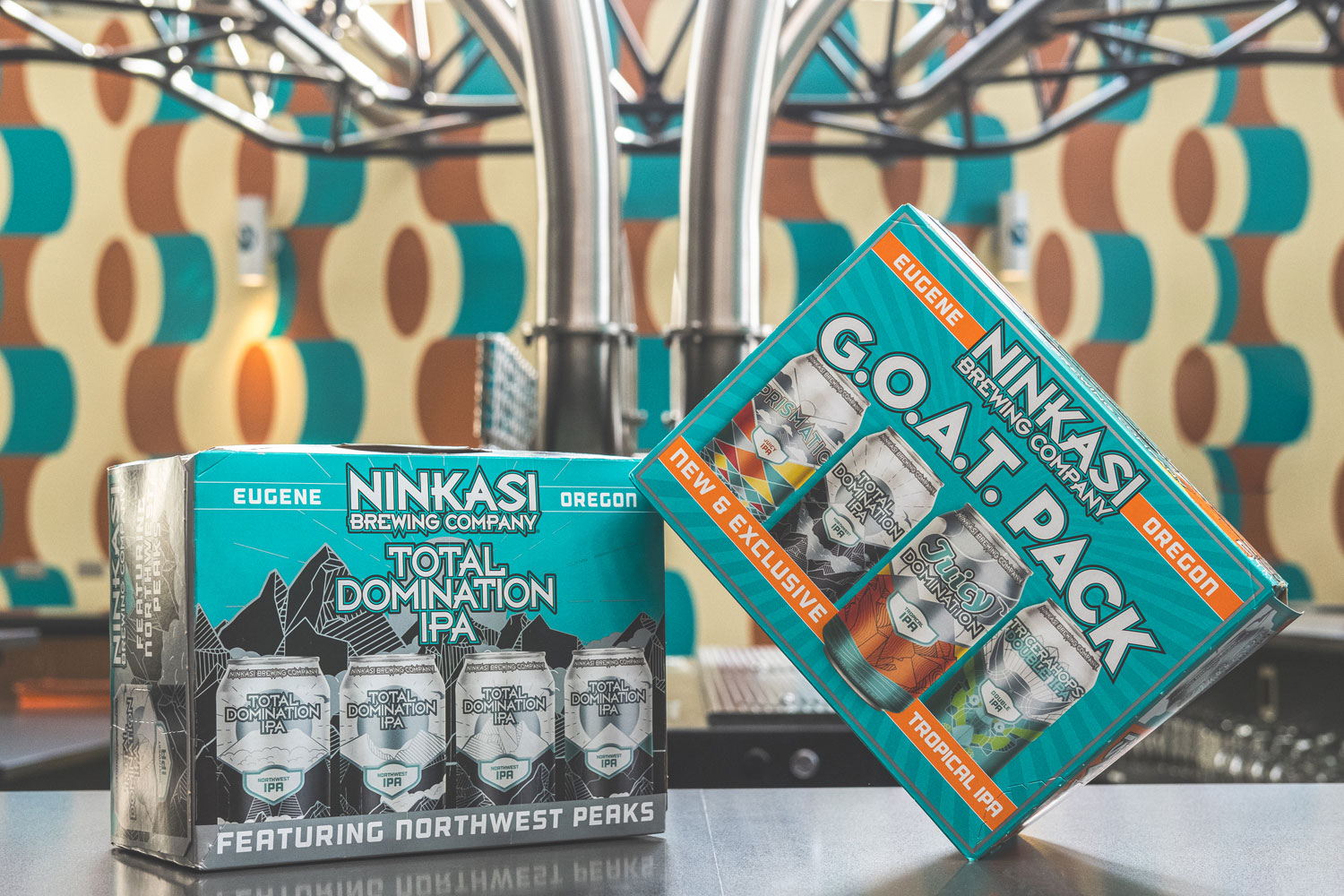 image of G.O.A.T. and Total Domination 12 Packs courtesy of Ninkasi Brewing