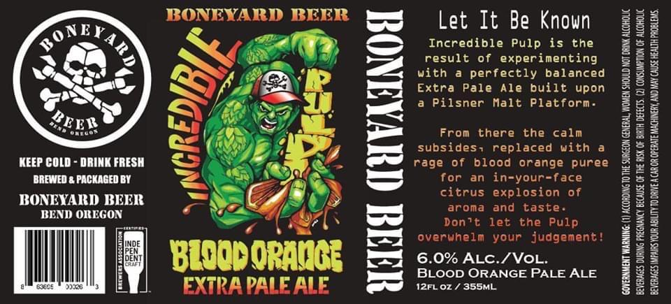 Boneyard Beer Incredible Pulp Blood Orange Extra Pale Ale 12oz Can