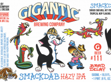 Gigantic Brewing Smackdab Hazy IPA - Label by Brad Delay